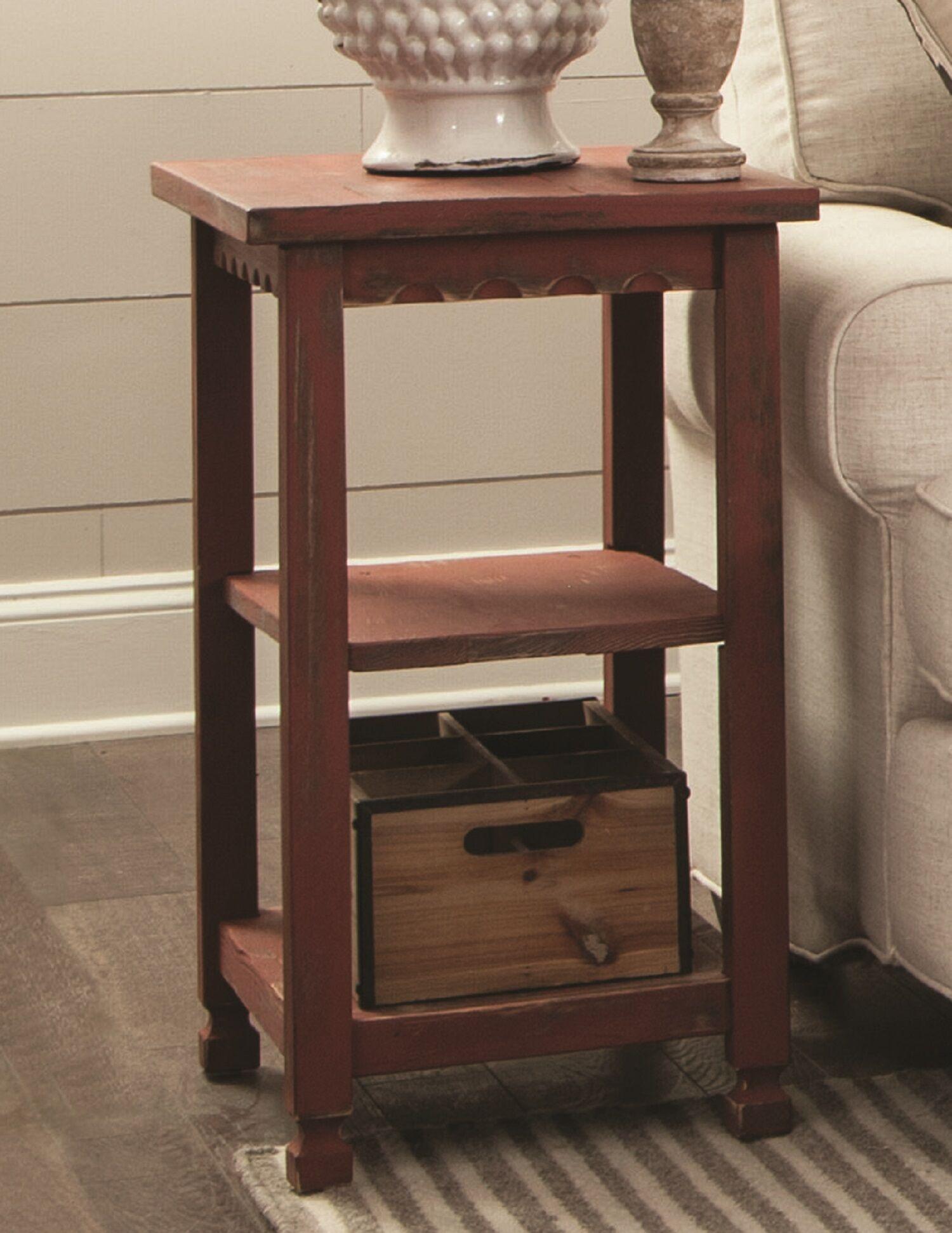 Mangum 2 Shelf End Table Color: Red