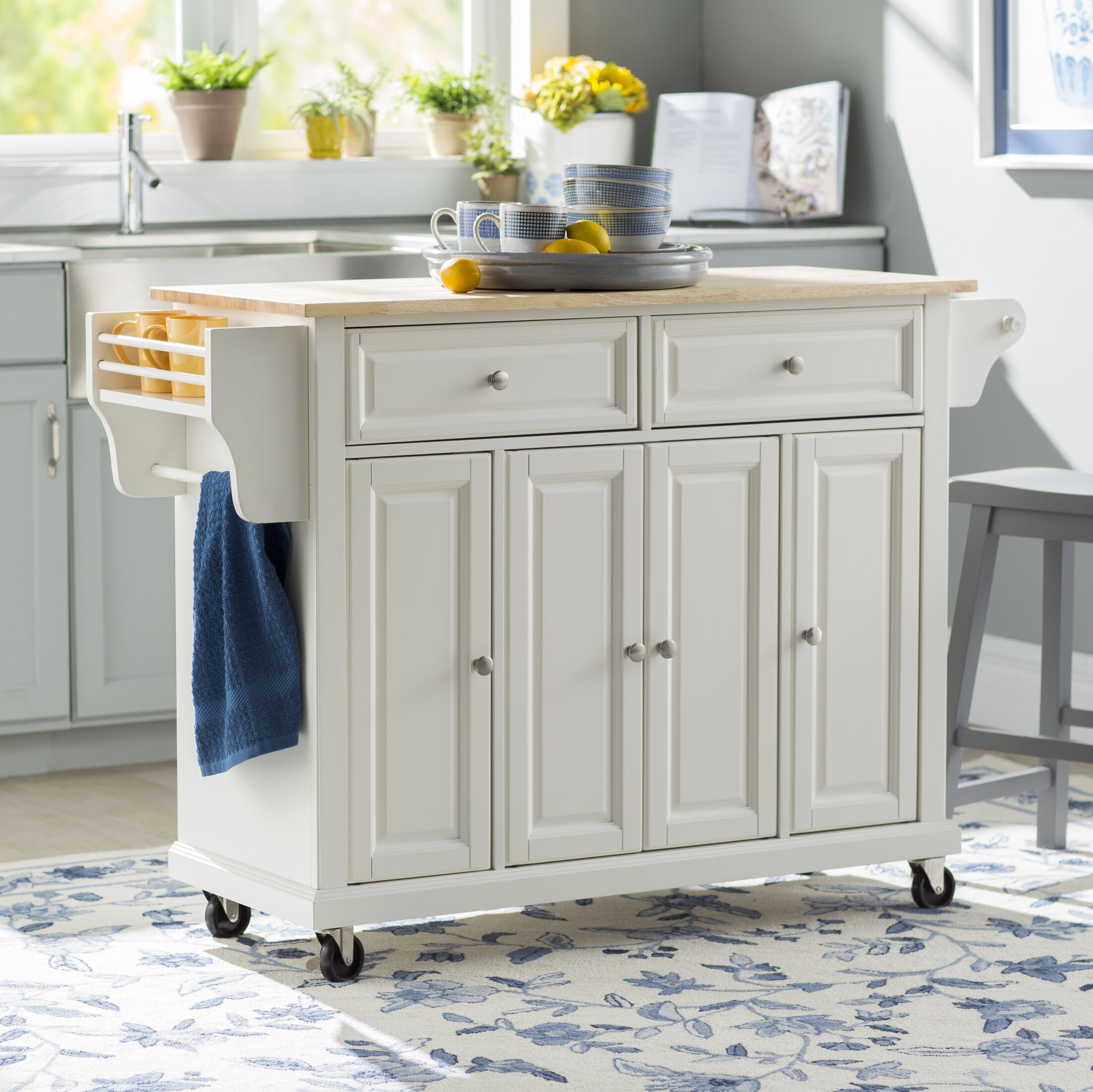 Comte Kitchen Cart/Island with Natural Wood Top Base Finish: White