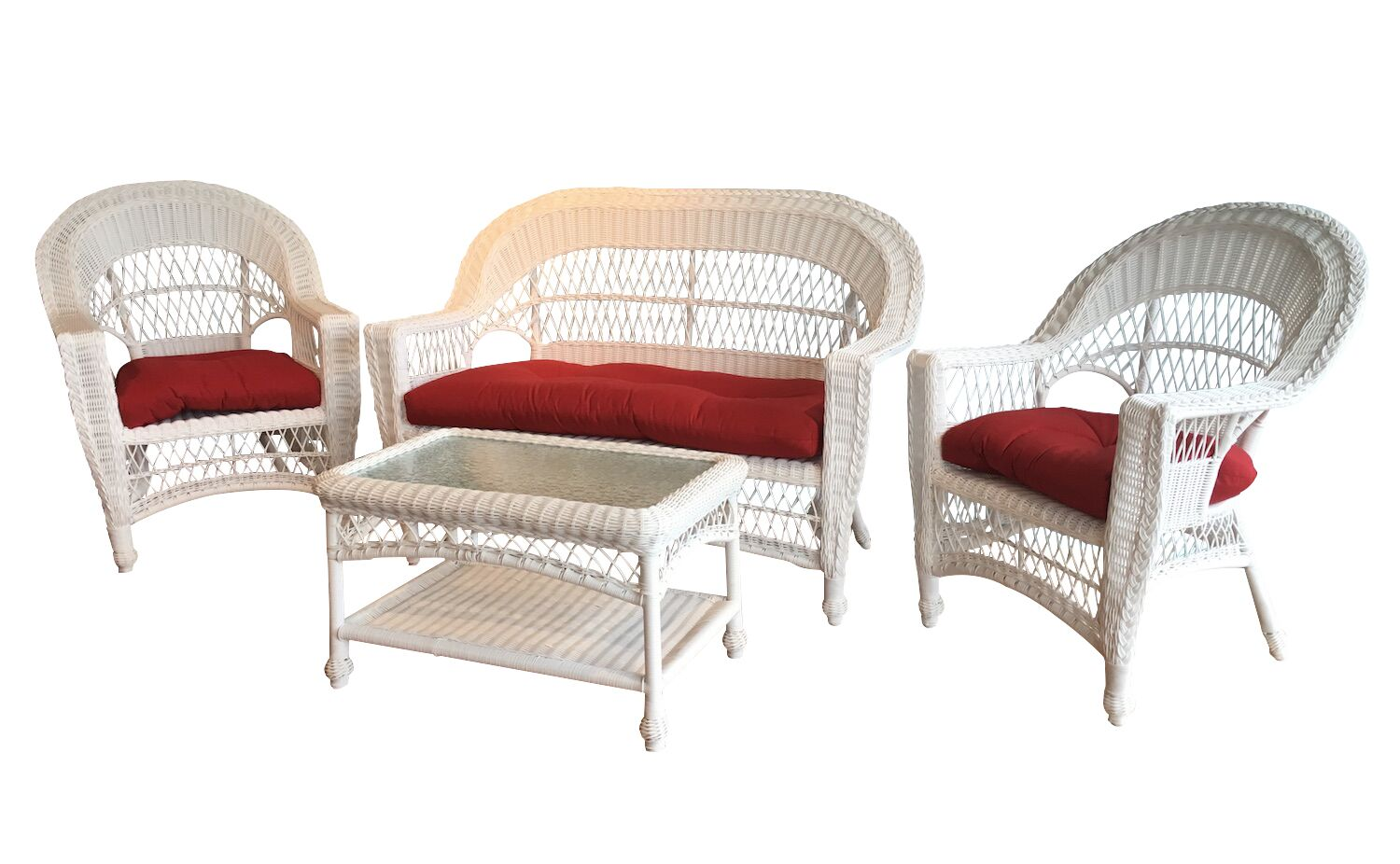 Camacho 4 Piece Sunbrella Loveseat Set with Sunbrella Cushions Color: White, Fabric: Sunbrella Red