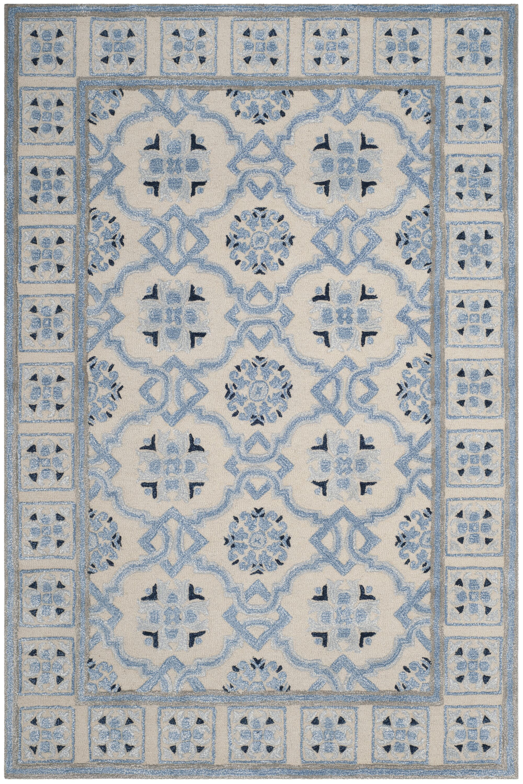Perine Hand-Tufted Ivory Blue Area Rug Rug Size: Rectangle 6' x 9'