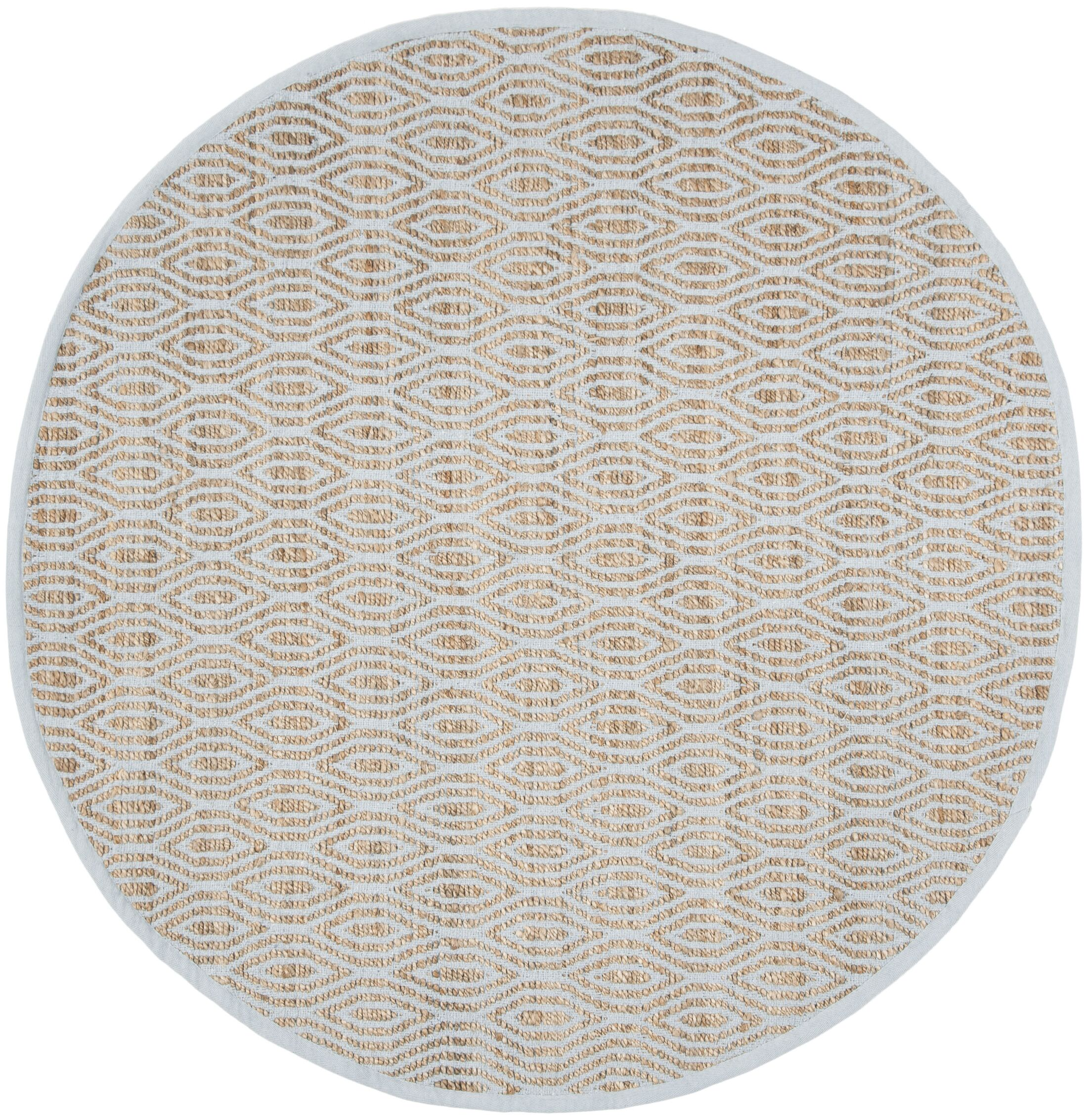 Zap Hand-Woven Silver/Natural Area Rug Rug Size: Round 6'