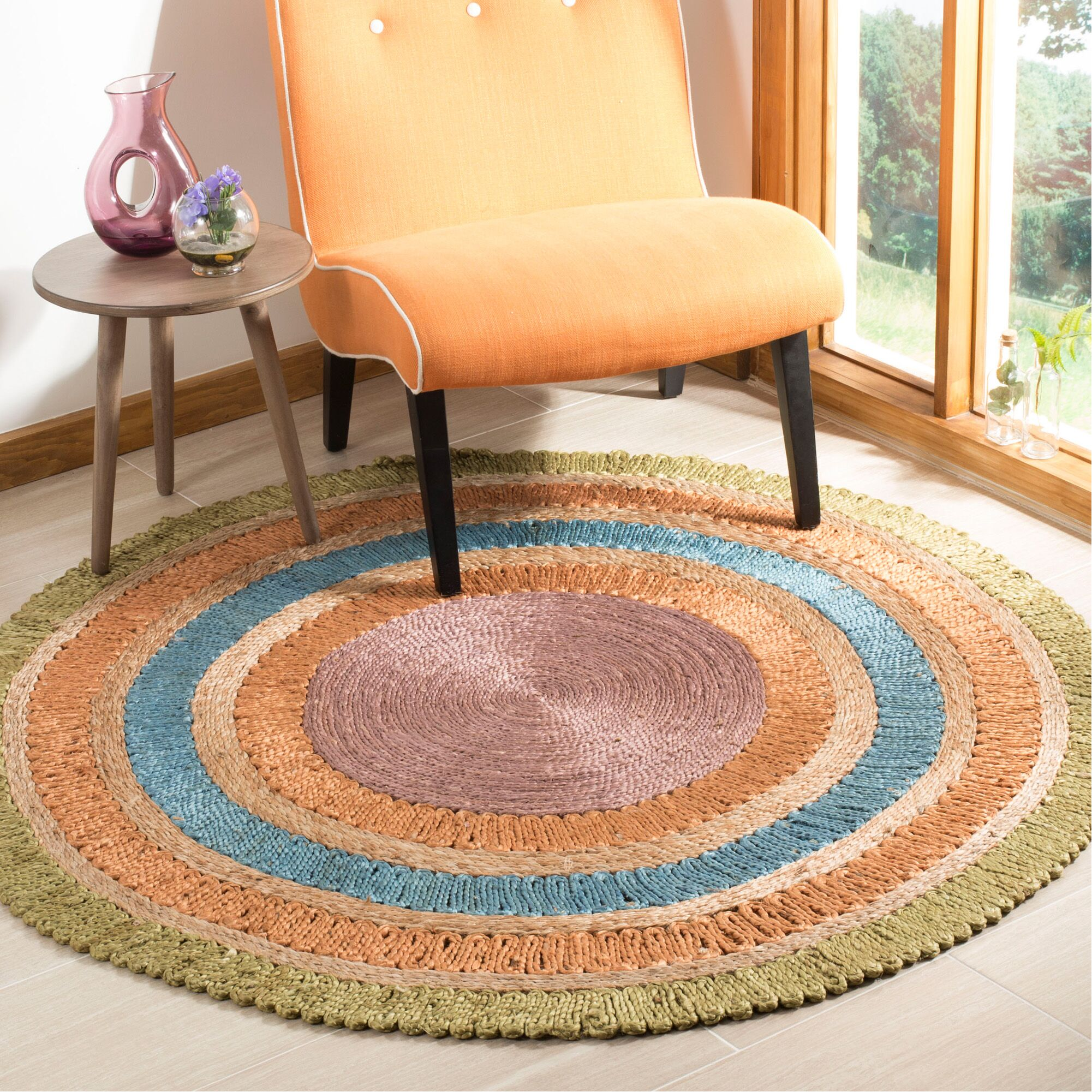Castelnaud Natural Fiber Hand Tufted Green/Blue/Orange Area Rug  Rug Size: Round 7'