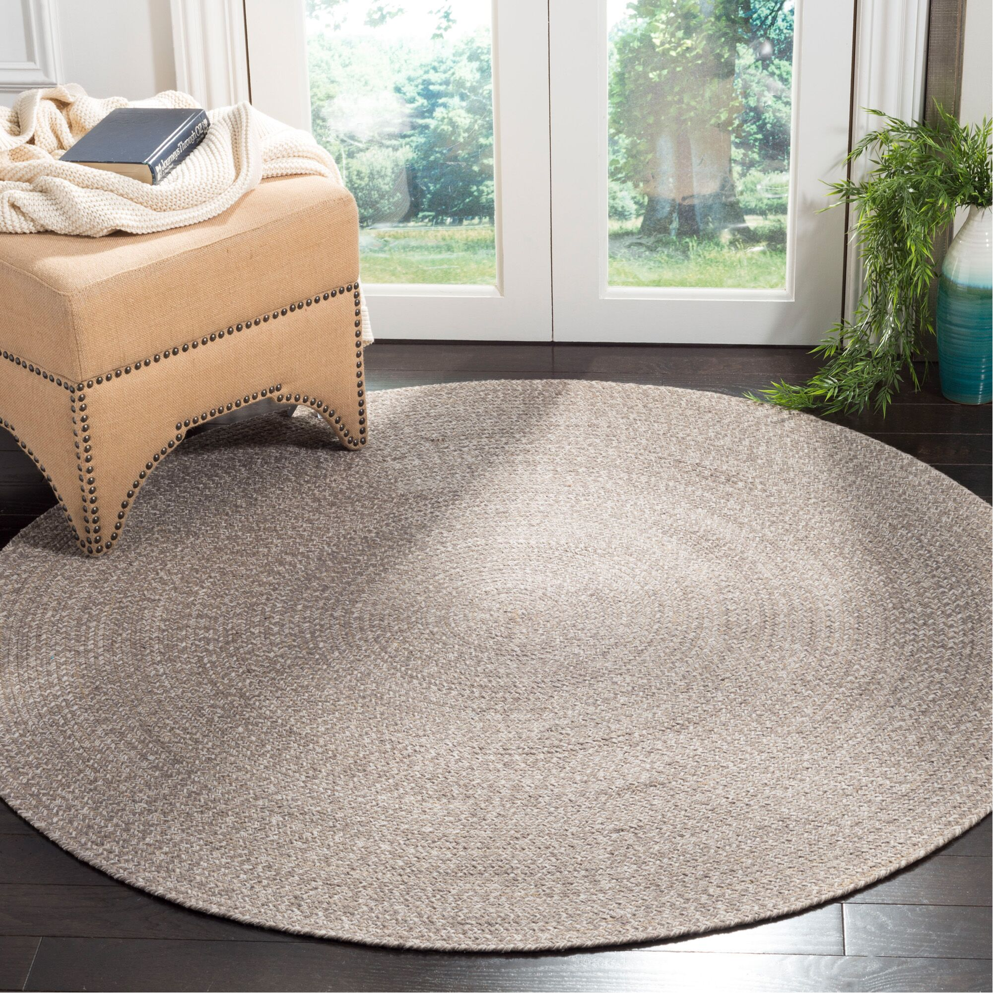 Paulina Versatile Hand Tufted Cotton Brown Area Rug Rug Size: Round 6'