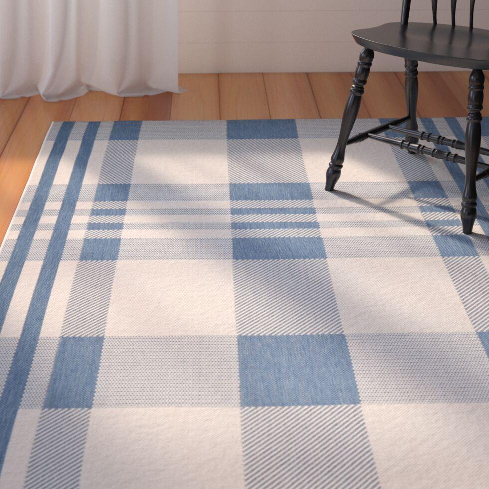 Frazier Beige/Blue Indoor/Outdoor Area Rug Rug Size: Rectangle 6'7