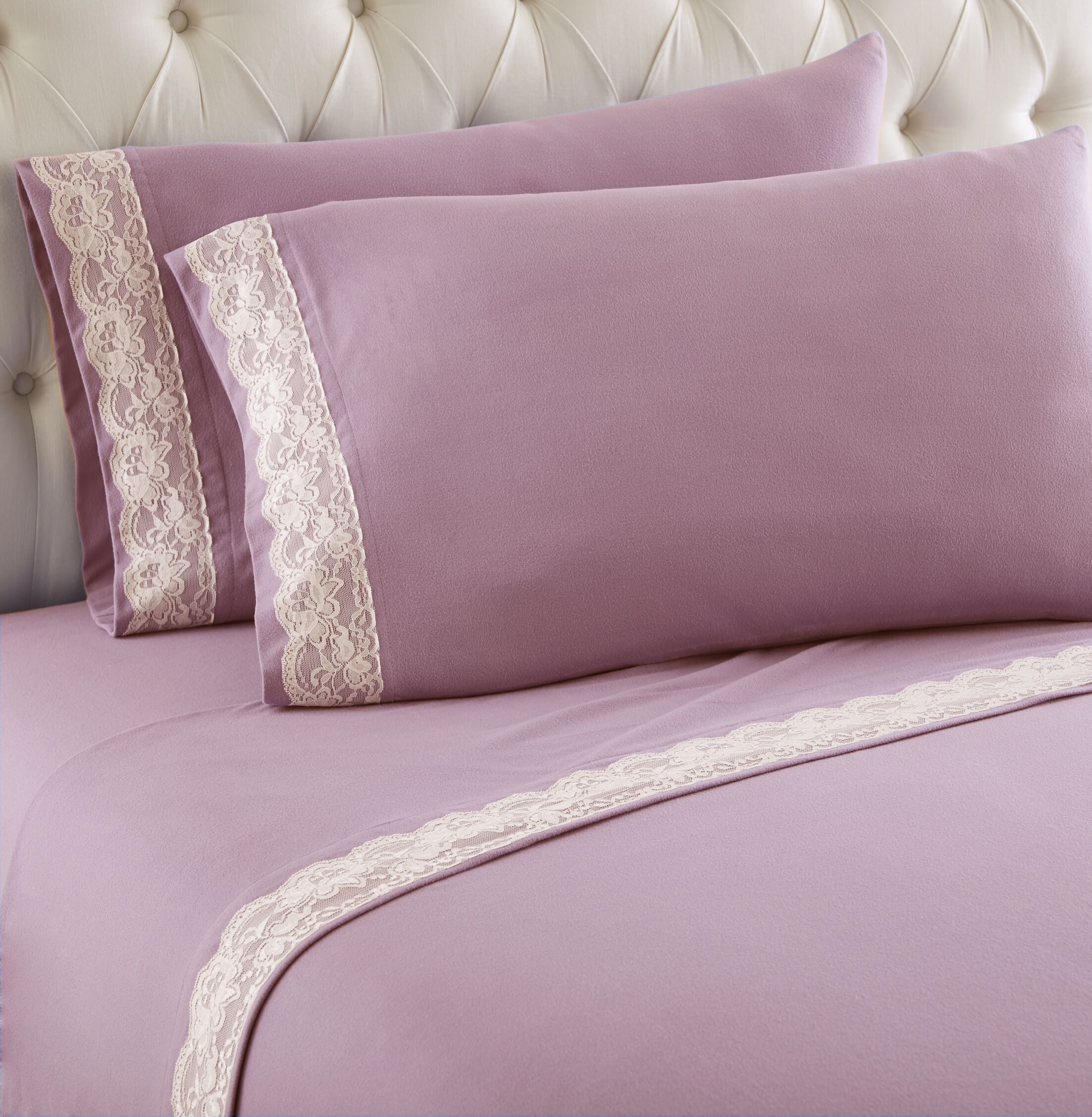 Georgette Lace Edged Sheet Set Size: California King, Color: Frosted Rose