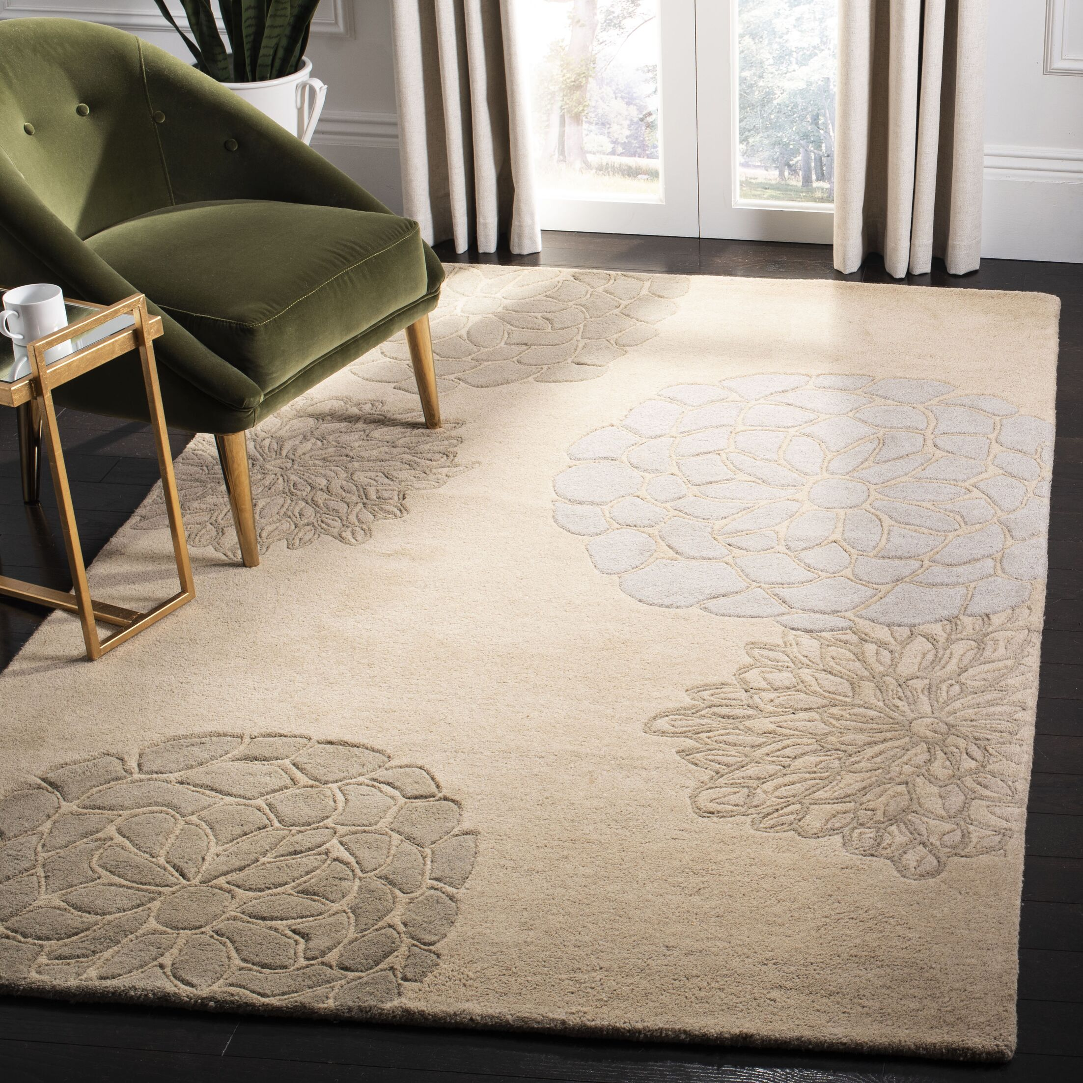 Ottilie Beige Floral Area Rug Rug Size: Rectangle 5' x 8'
