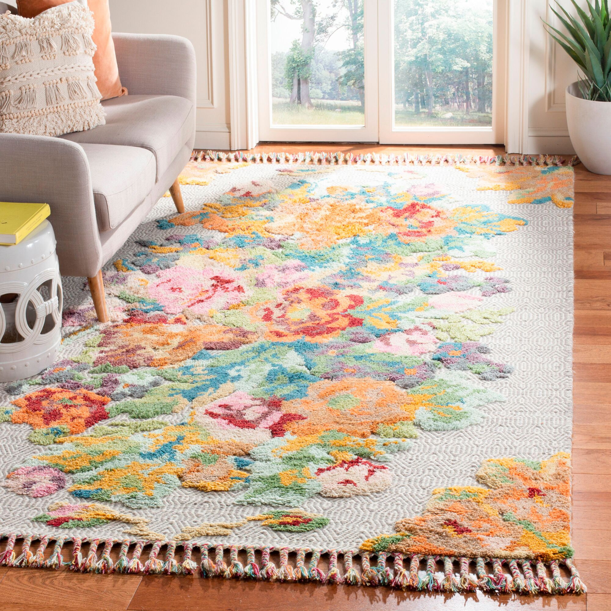Bertha Hand Knotted Wool Orange Area Rug Rug Size: Rectangle 6' x 9'