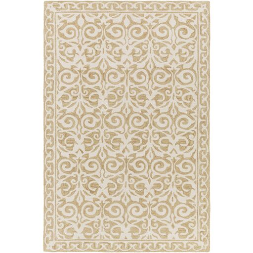 Bastien Hand-Hooked Beige Area Rug Rug Size: Rectangle 8' x 10'