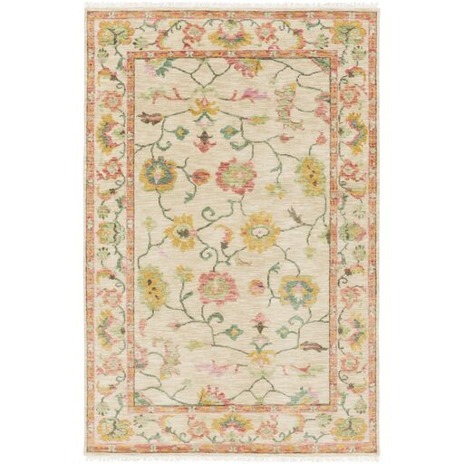 Jules Hand-Knotted Pink Area Rug Rug Size: Rectangle 5'6