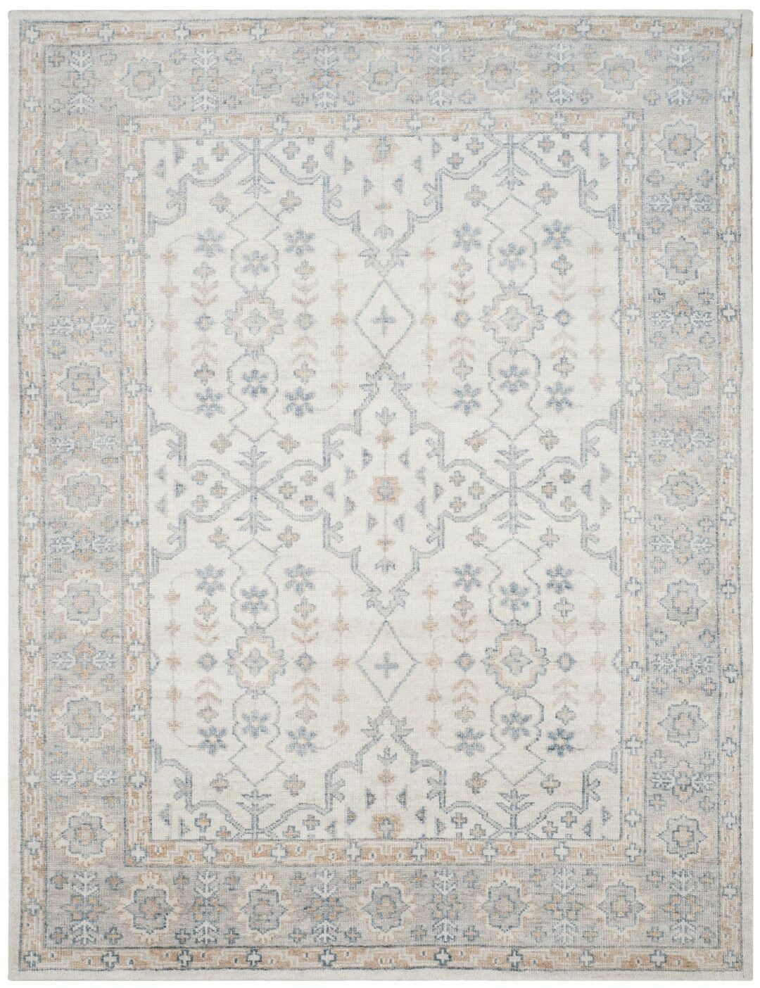 Yassine Hand-Knotted Ivory/Blue Area Rug Rug Size: Rectangle 4' x 6'