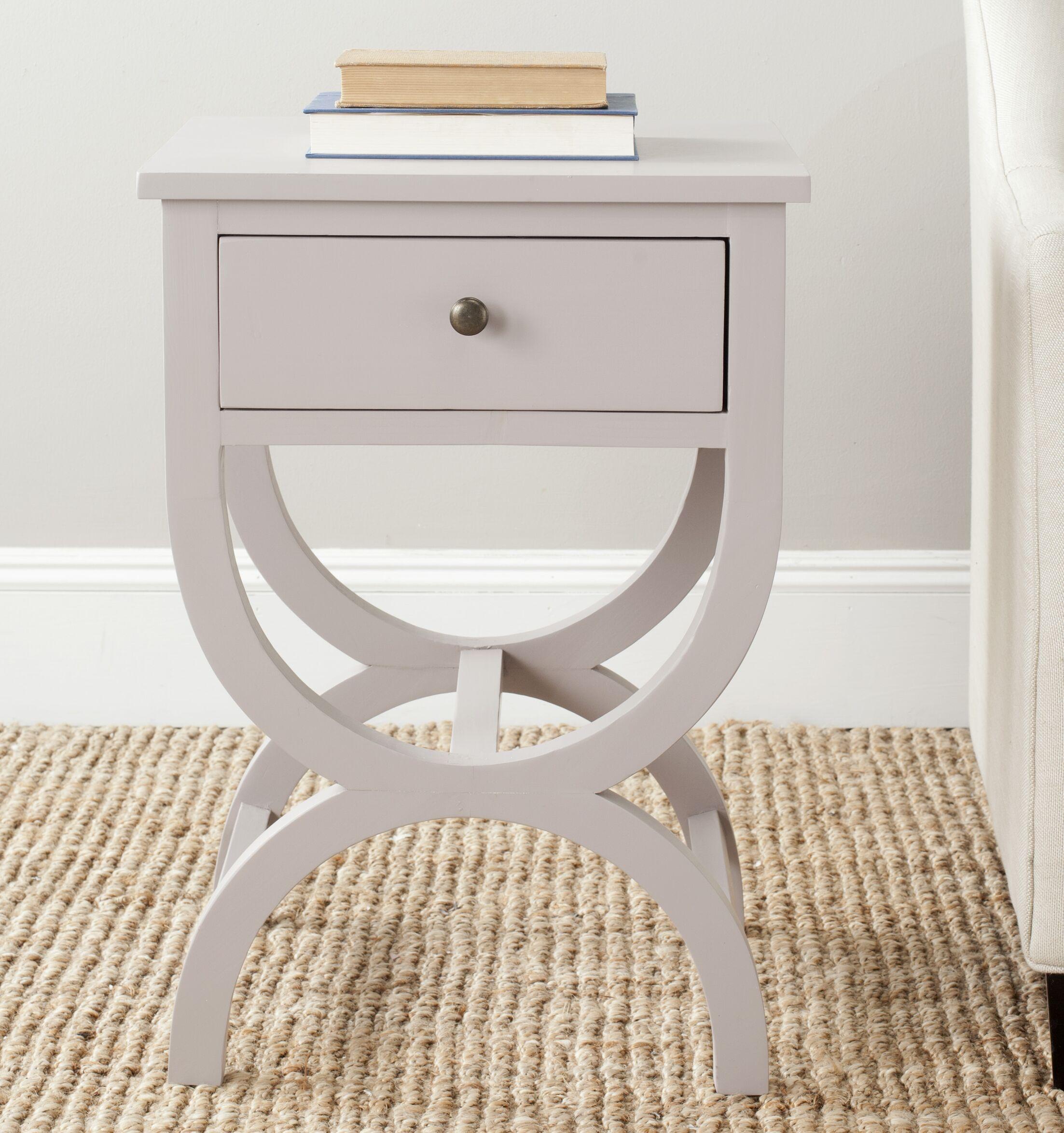 Laverriere End Table with Storage� Color: Quartz Gray
