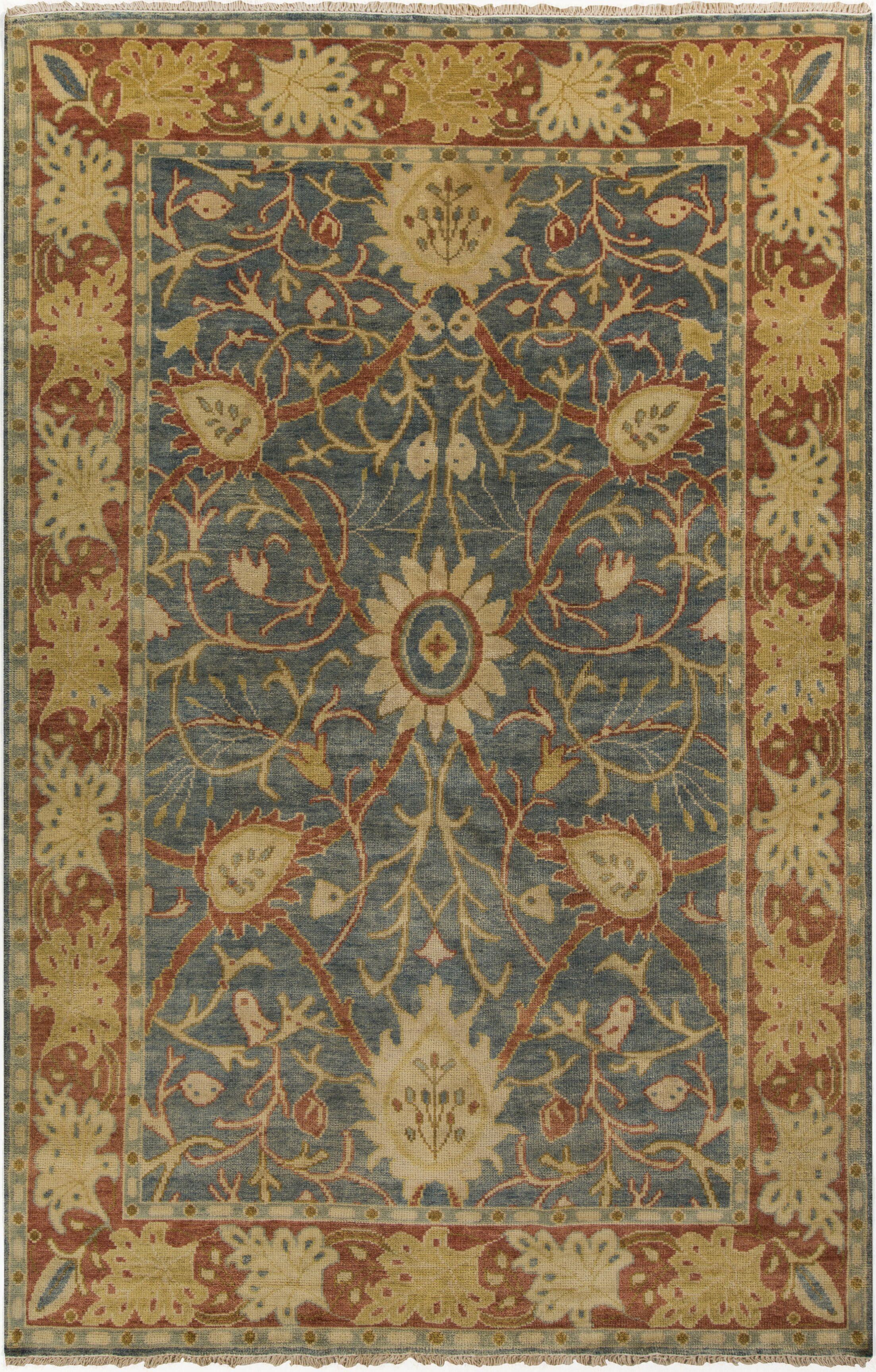 Dellinger Gold/Moss Oriental Area Rug Rug Size: 3'6