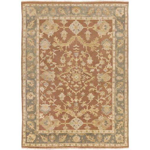 Talence Hand-Knotted Brown Area Rug Rug Size: 10' x 14'