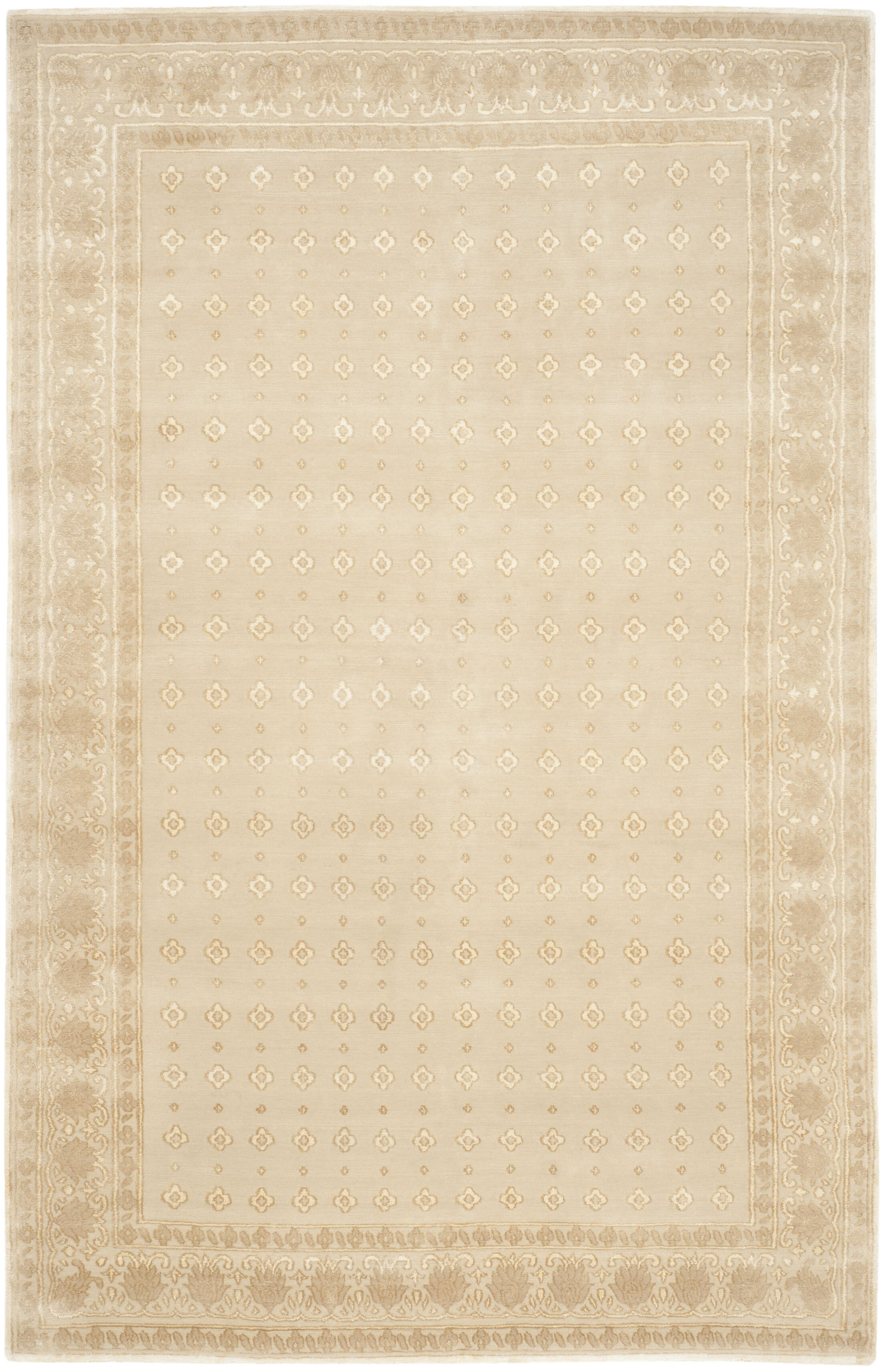 Berta Hand-Knotted Cream Area Rug Rug Size: 6' x 9'