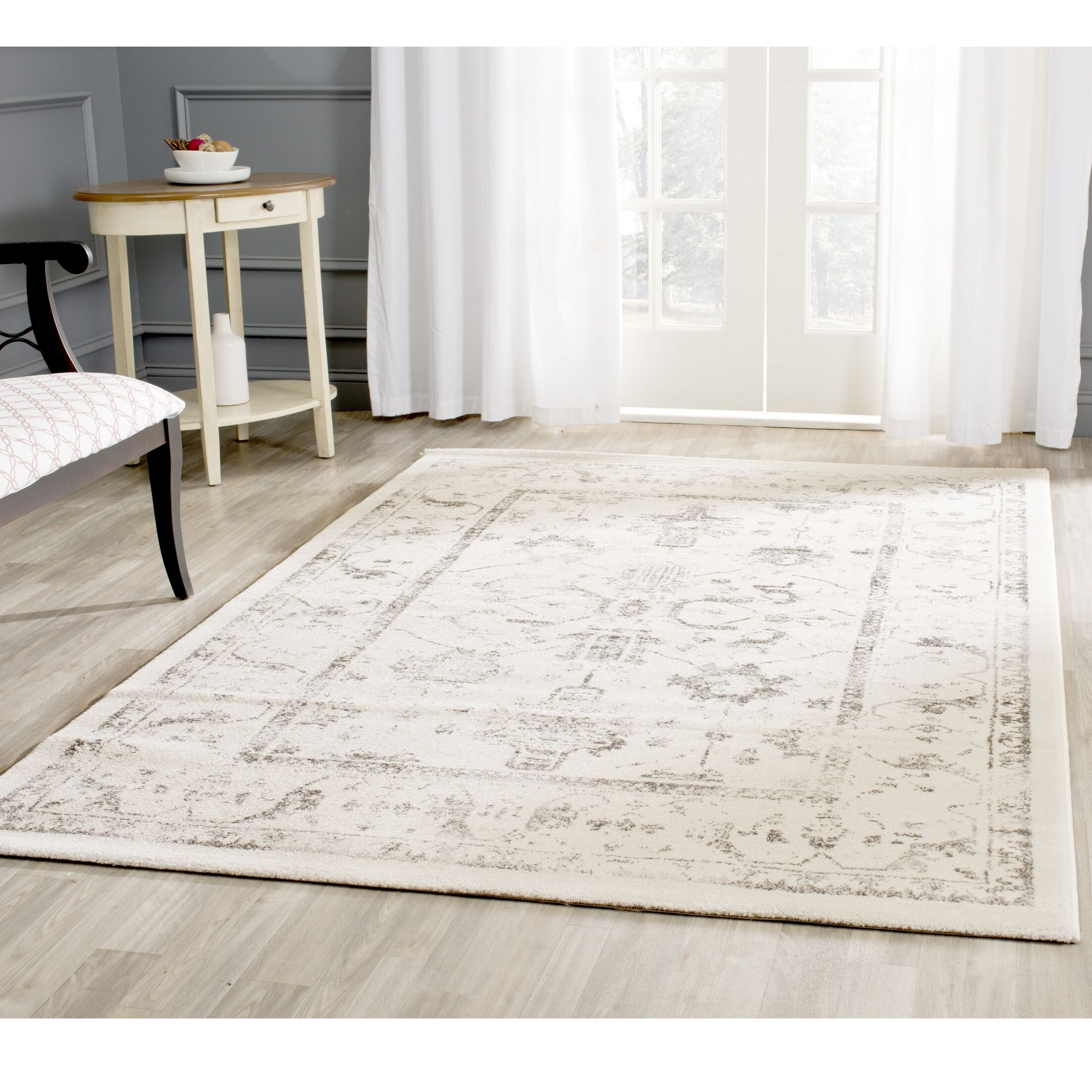 Porcello Ivory/Light Gray Area Rug Rug Size: Rectangle 2'7