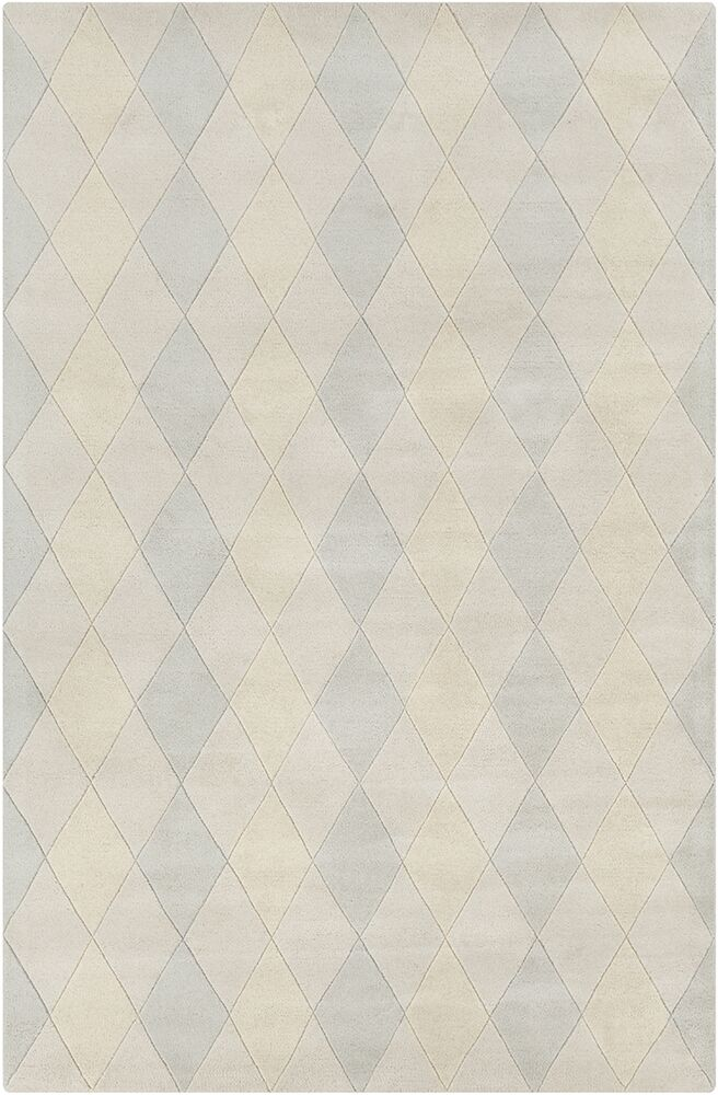 Dions Hand Tufted Wool Ivory/Blue Area Rug
