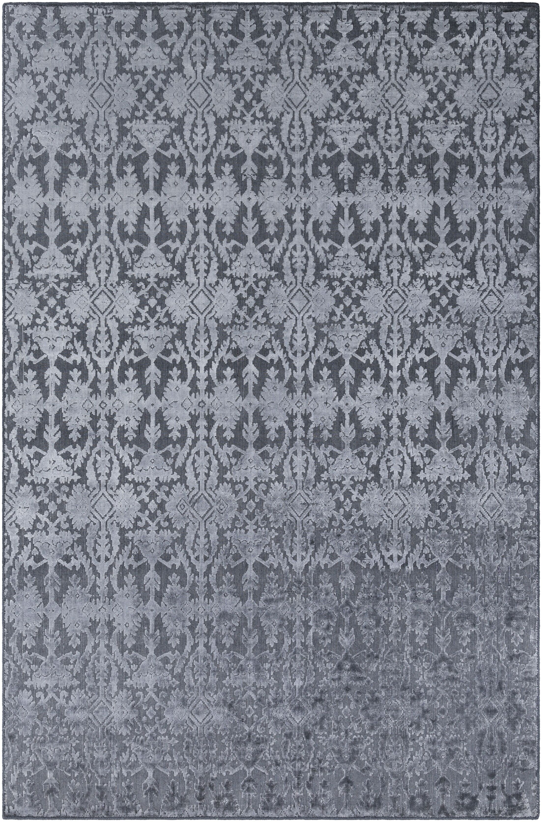 Rockland Hand-Knotted Medium Gray Area Rug Rug Size: Rectangle 2' x 3'