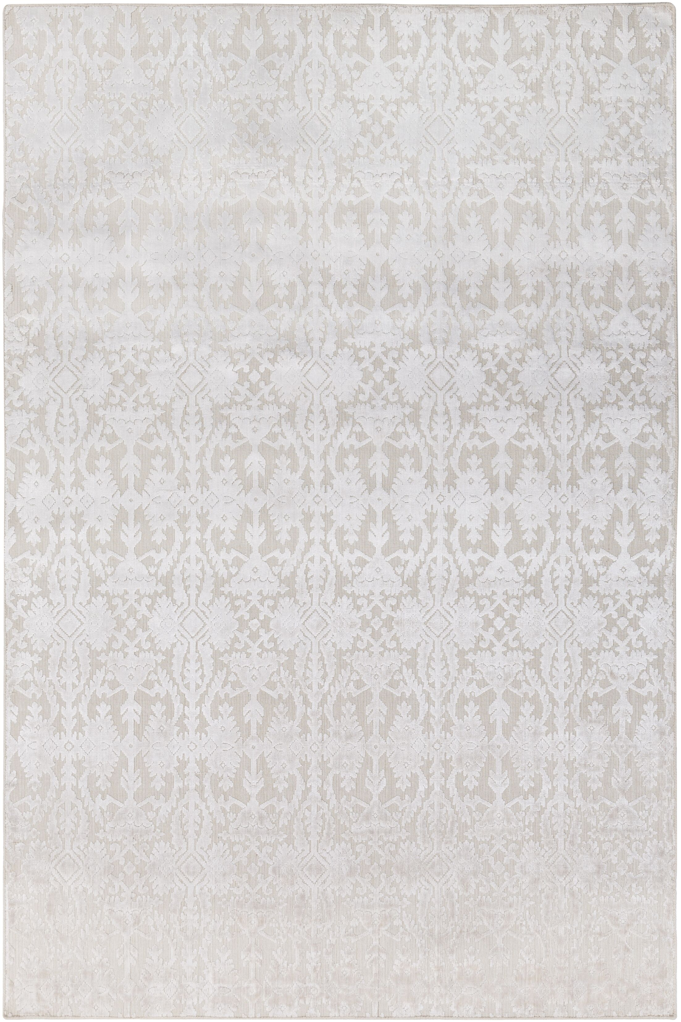 Rockland Hand-Knotted Khaki/White Area Rug Rug Size: Rectangle 6' x 9'