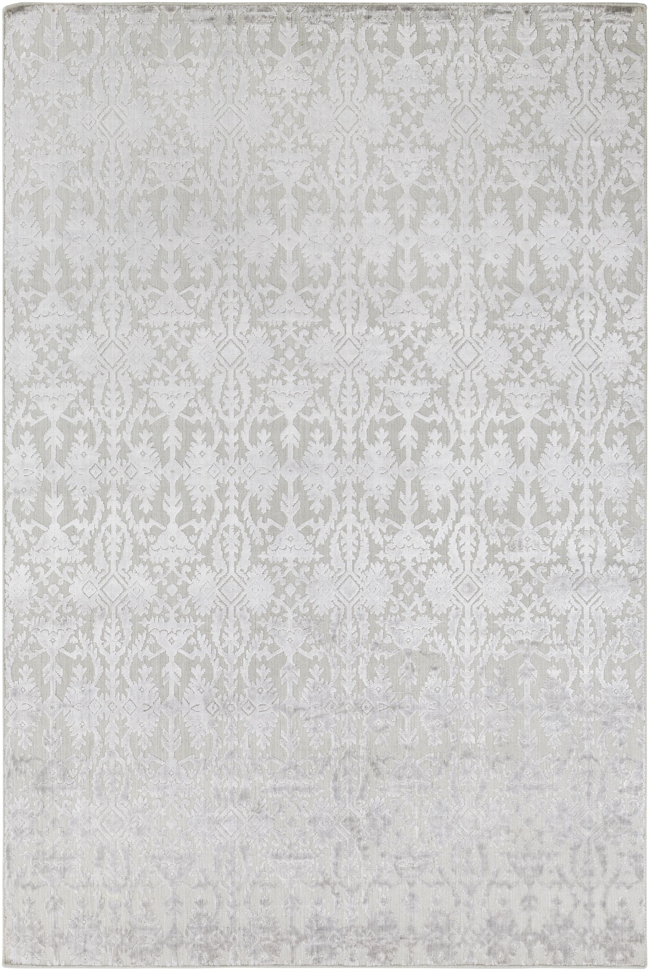 Rockland Hand-Knotted Light Gray Area Rug Rug Size: Rectangle 6' x 9'