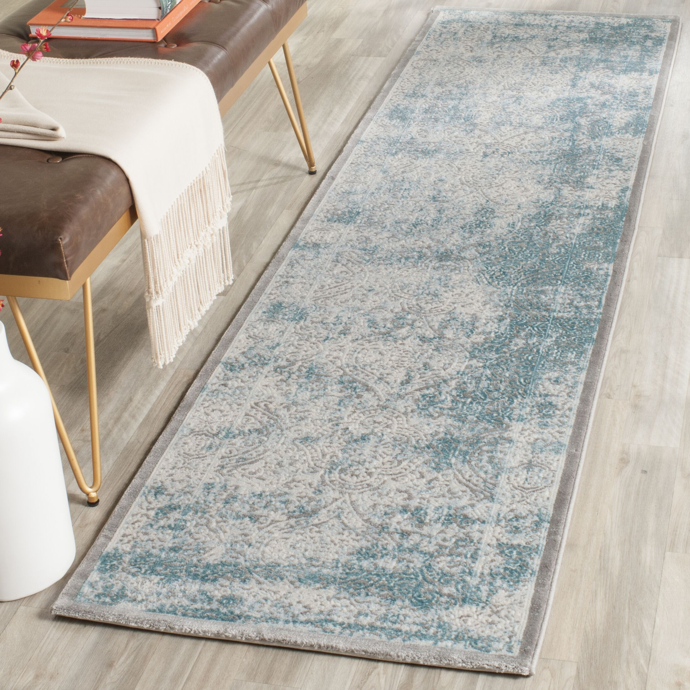 Auguste Turquoise/Ivory Area Rug Rug Size: Runner 2'2