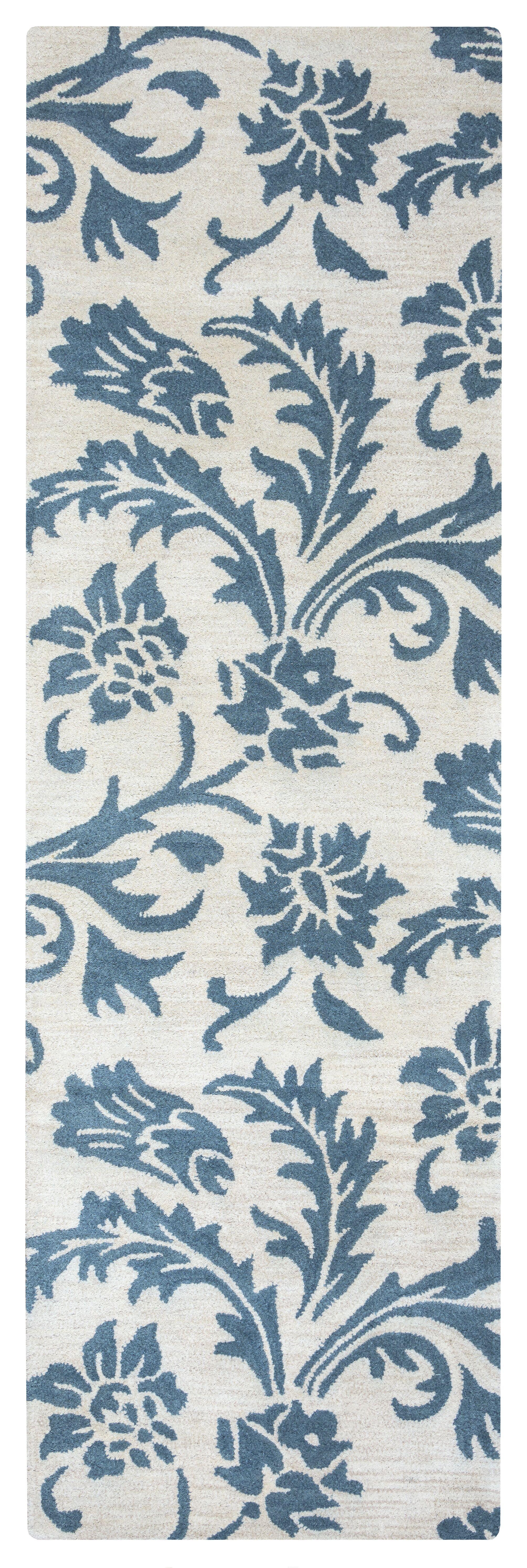 Ostrander Hand-Tufted Blue/Beige Area Rug Rug Size: Rectangle 5' x 8'