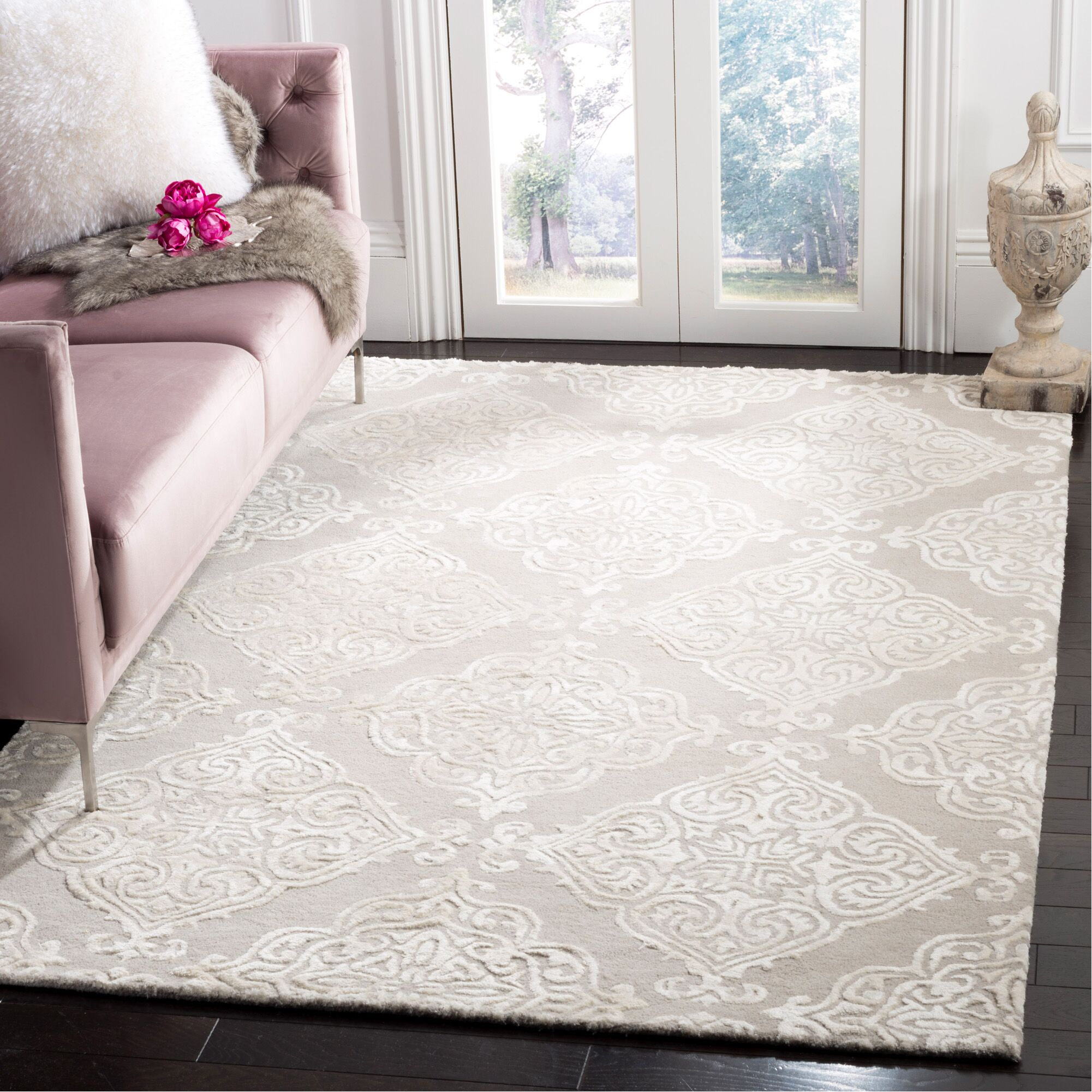 Bernon Hand Tufted Silver Area Rug Rug Size: Rectangle 4' x 6'