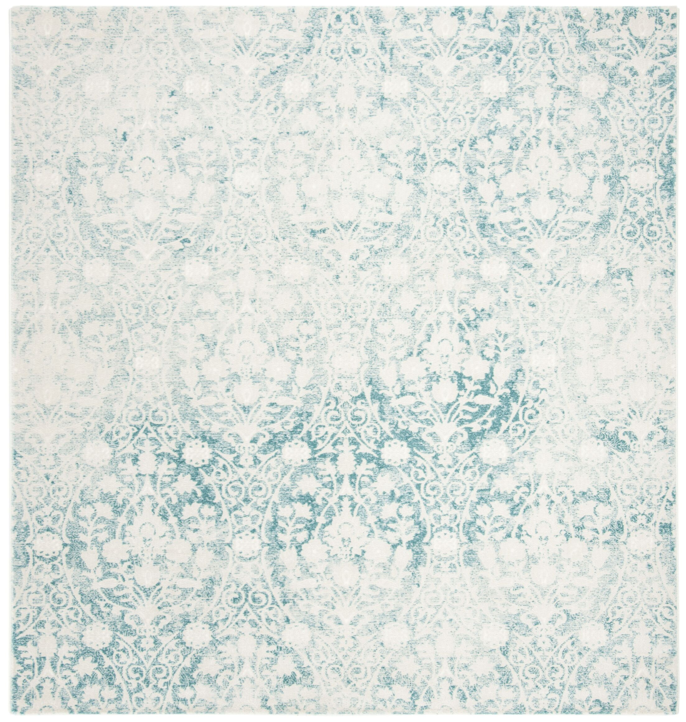 Auguste Turquoise/Ivory Area Rug Rug Size: Square 6'7