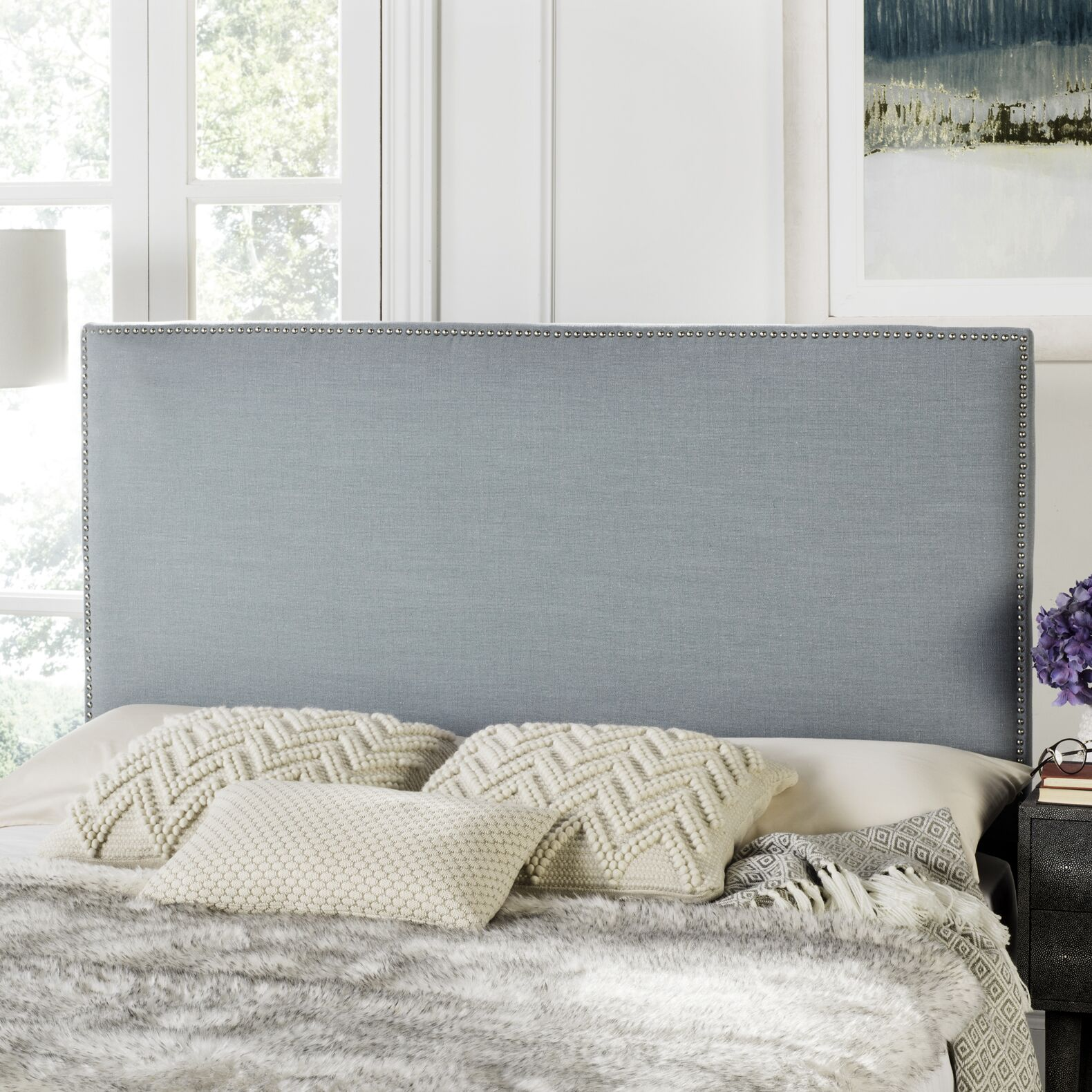 Farringdon Upholstered Wingback Headboard Size: Queen, Color: Sky Blue, Upholstery: Polyester