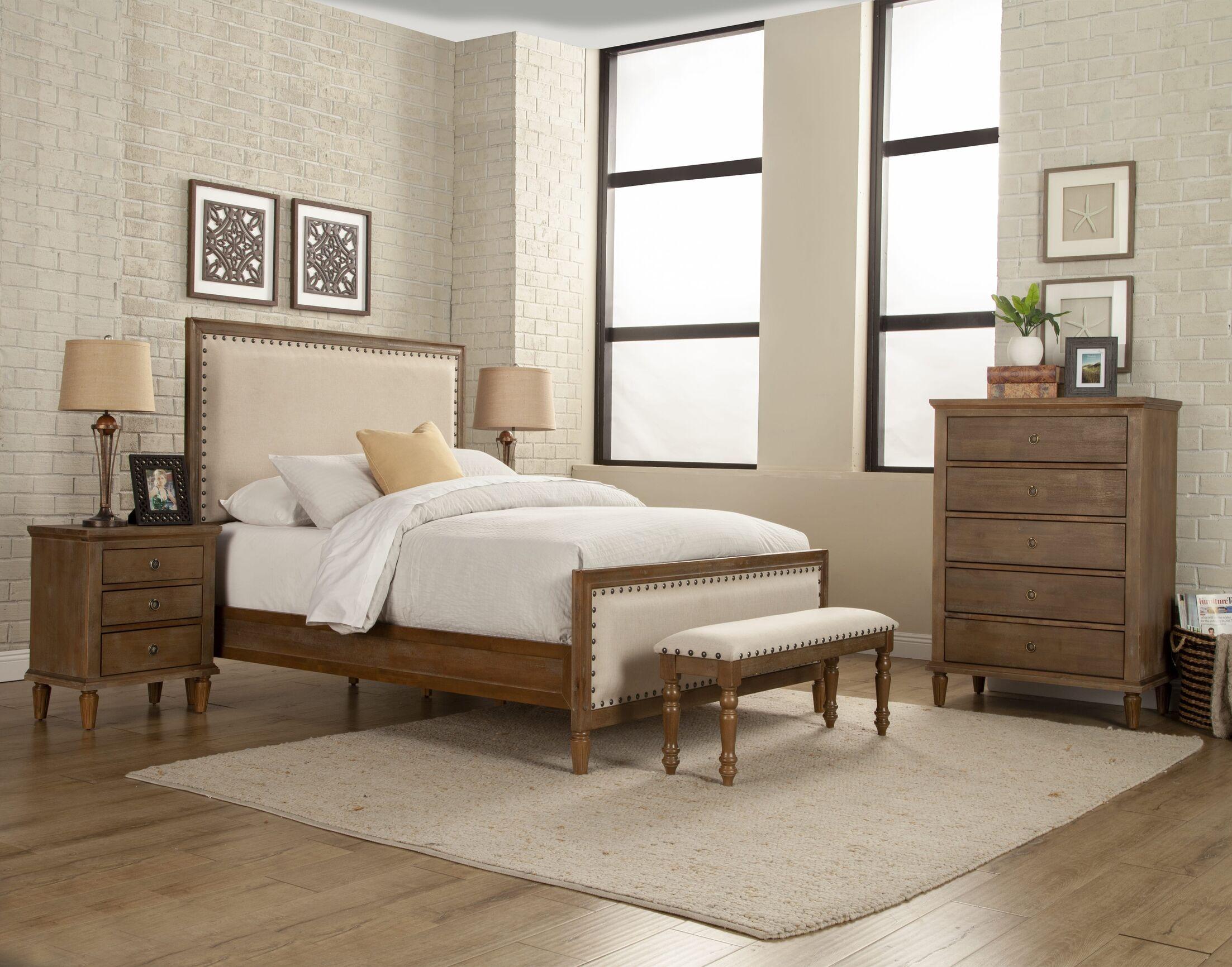 Shirke Panel 5 Piece Bedroom Set Color: Brown, Bed Size: King