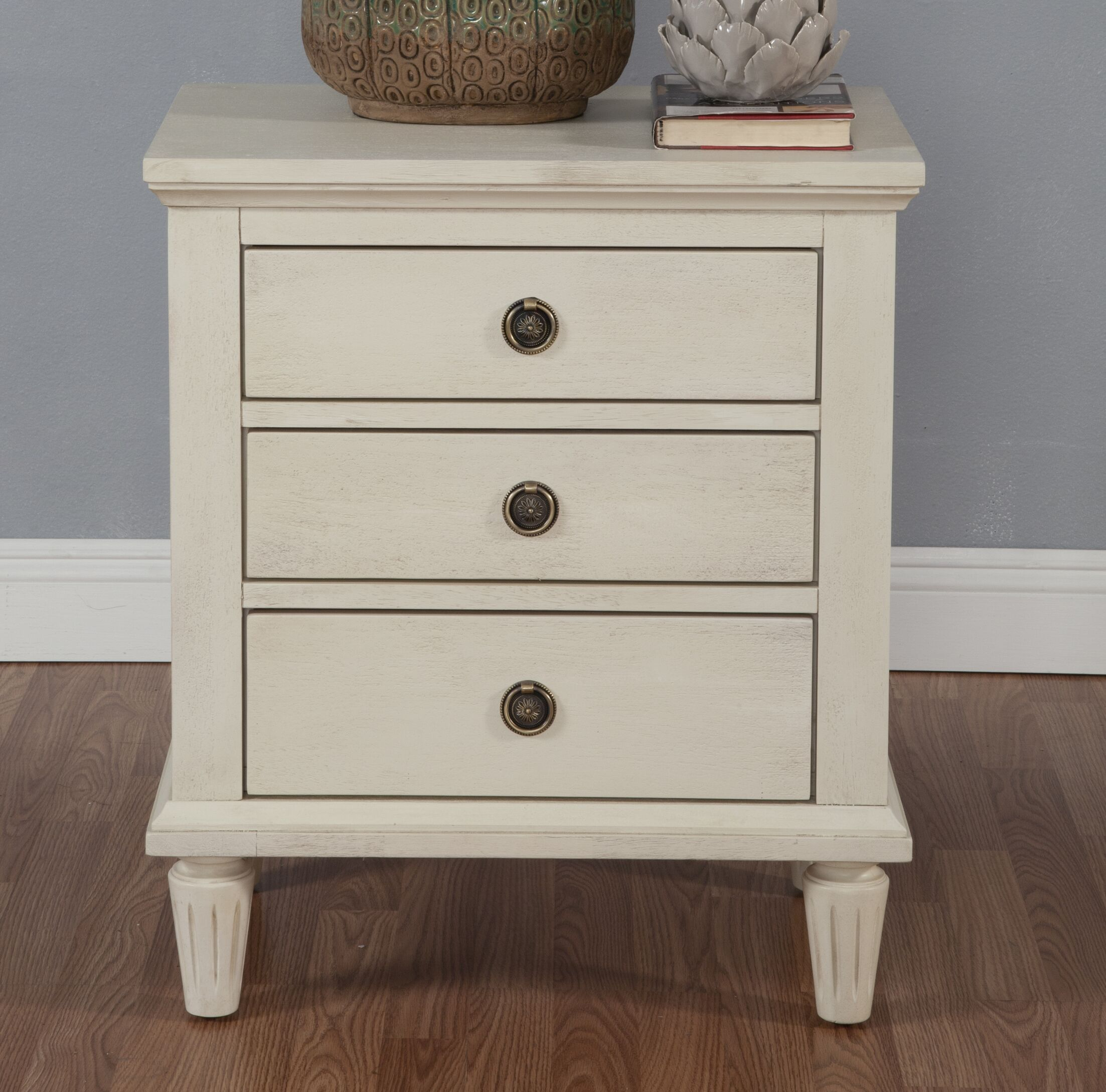 Shirke 3 Drawer Nightstand Color: White Wash