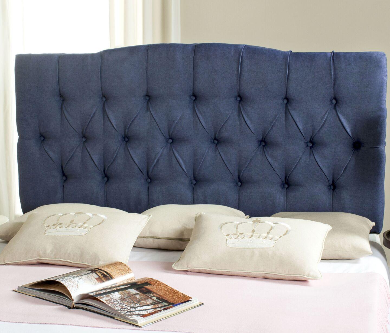 Ellecourt Upholstered Panel Headboard Upholstery: Polyester Navy, Size: Queen