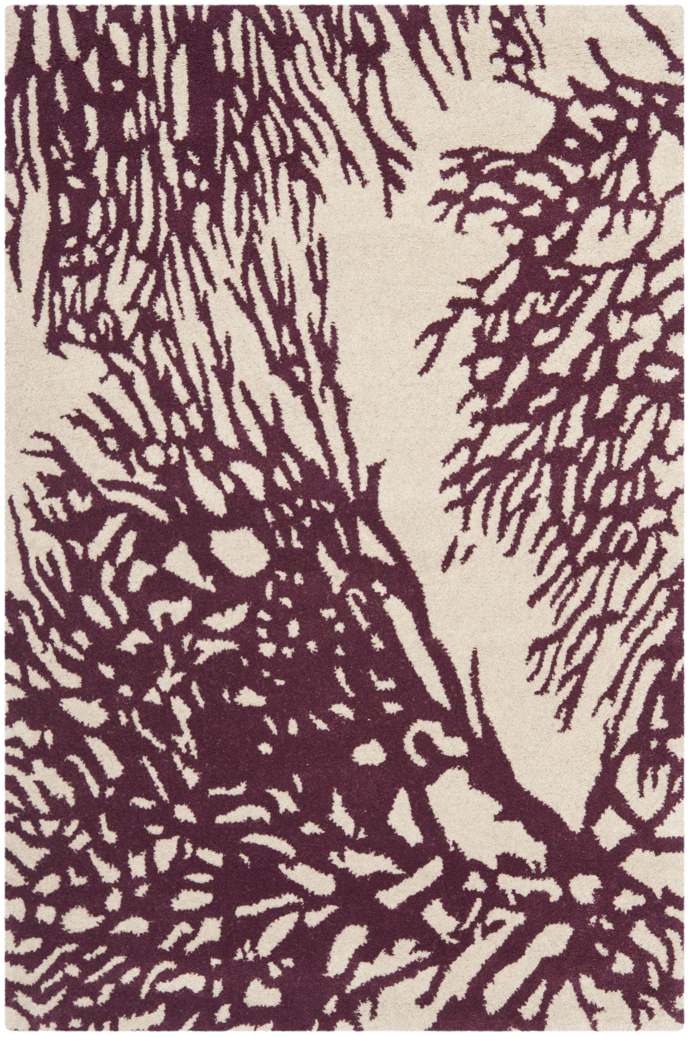 Juniper Hand-Tufted Beige/Purple Area Rug Rug Size: Square 5'