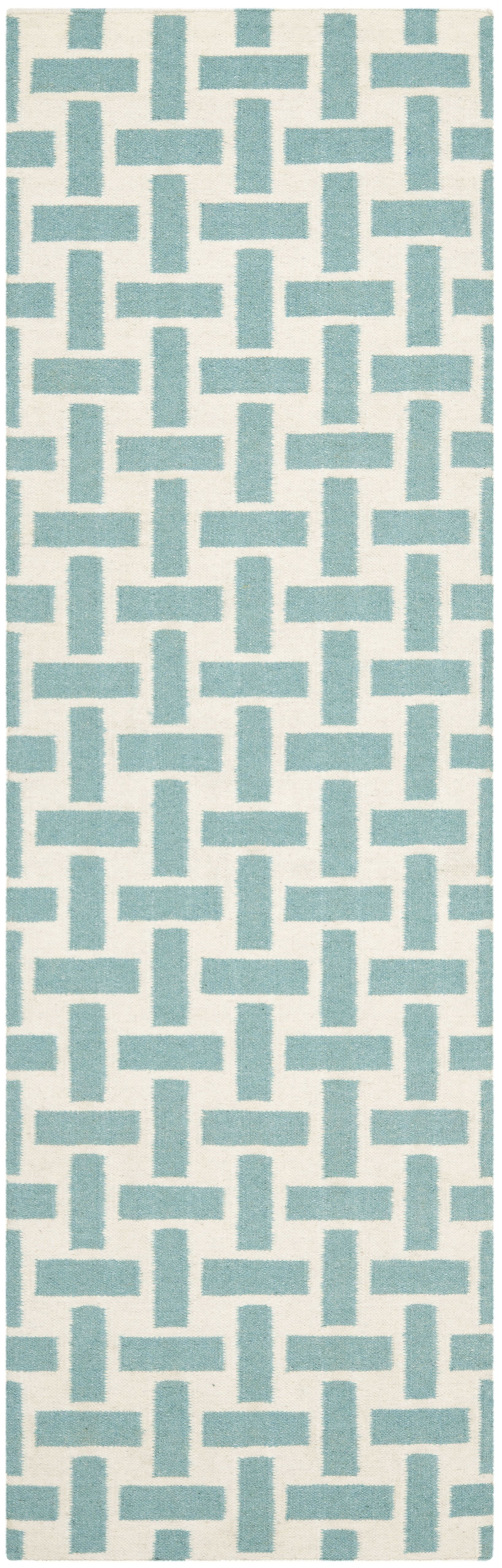 Masaryktown Hand-Woven Turquoise & Ivory Area Rug Rug Size: Runner 2'6