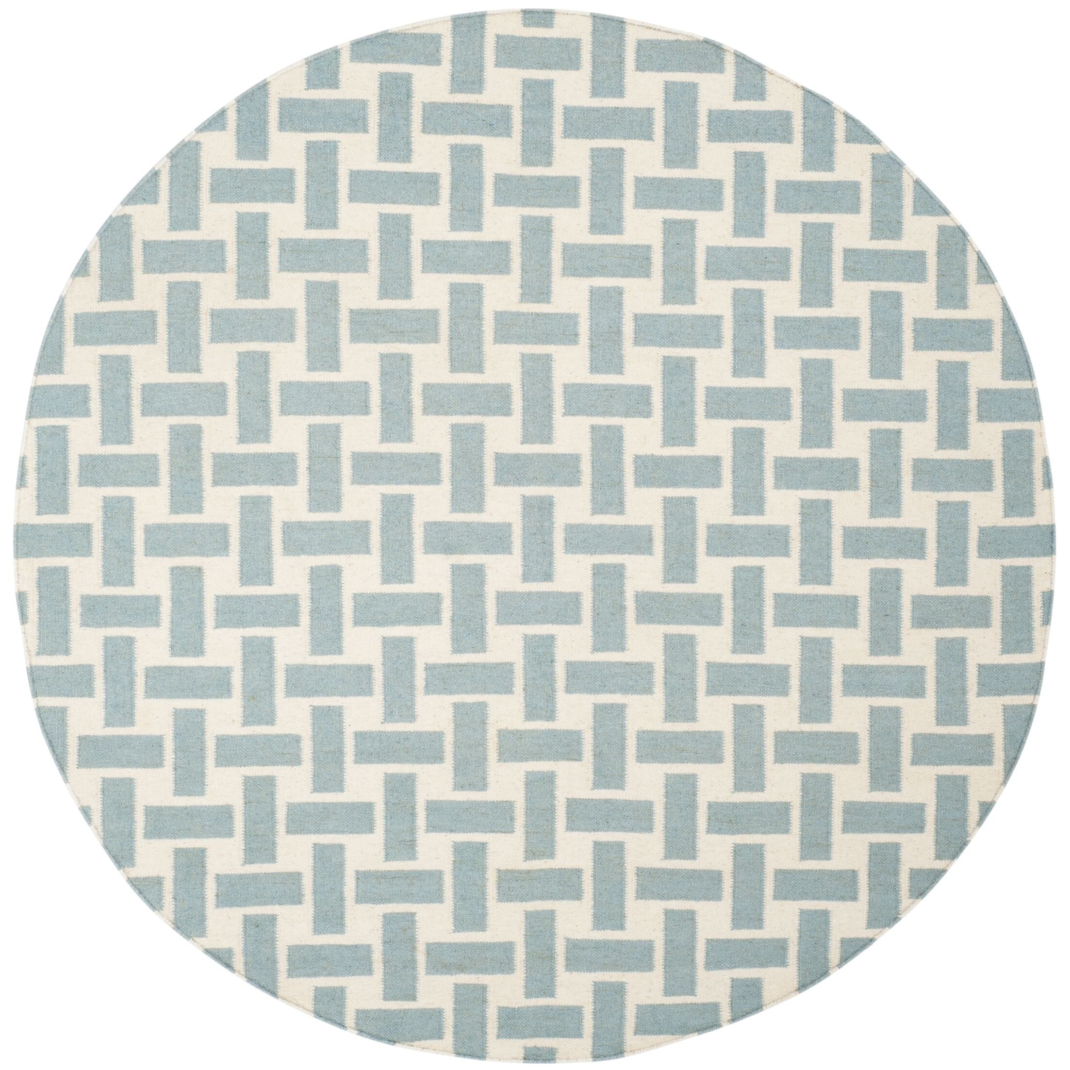 Masaryktown Hand-Woven Turquoise & Ivory Area Rug Rug Size: Round 6' x 6'