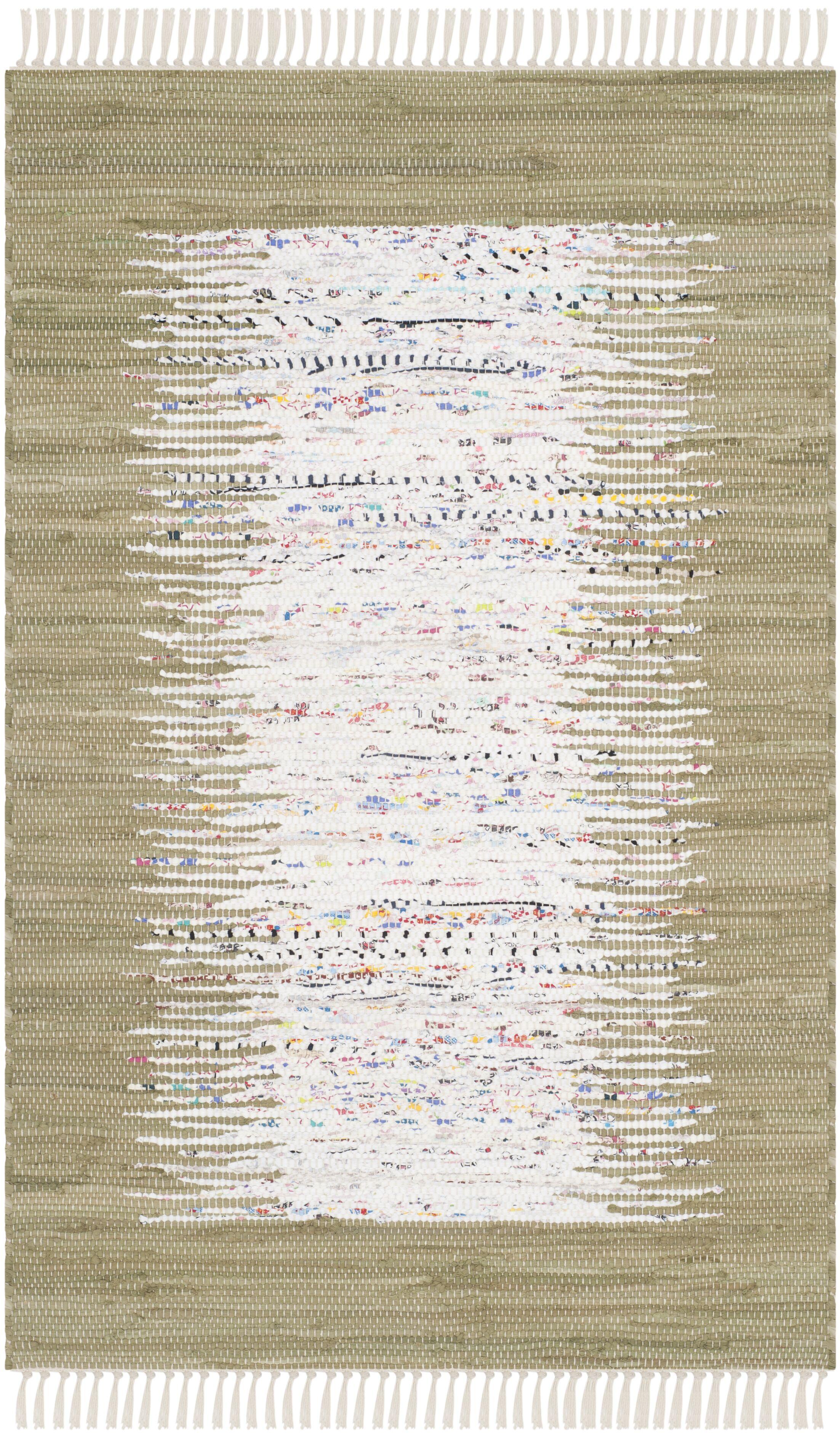 Ona Hand-Woven Ivory/Olive Area Rug Rug Size: Rectangle 6' x 9'