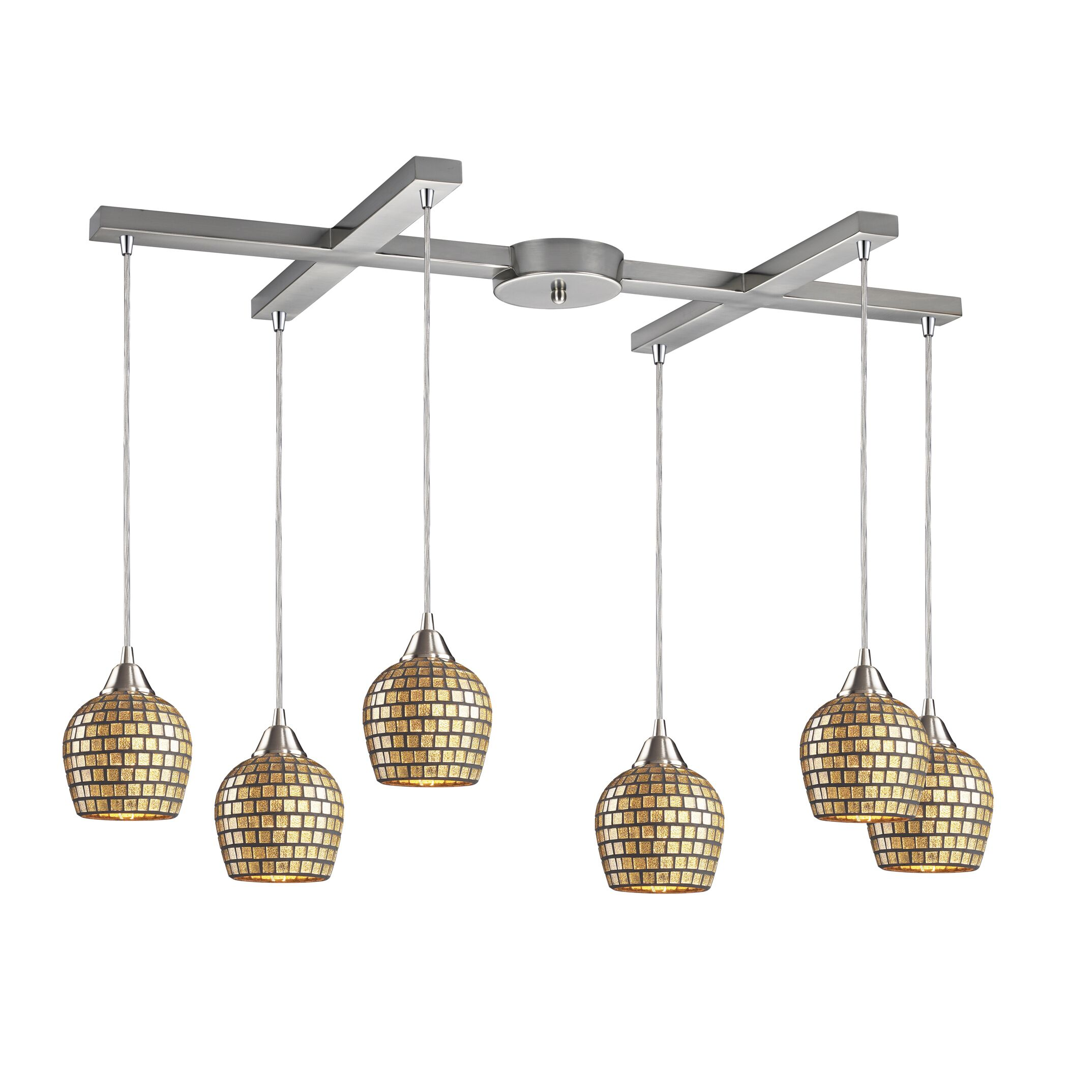 Roehampton Three Forks 6-Light Cluster Pendant Finish: Satin Nickel and Gold Mosaic Glass