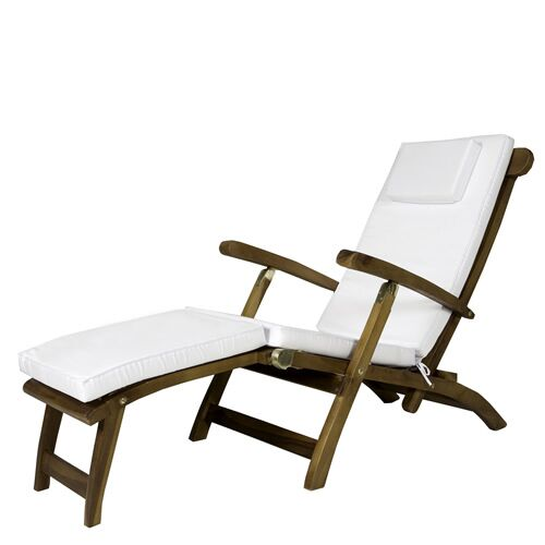 Humphrey Indoor/Outdoor Chaise Lounge Cushion Color: White