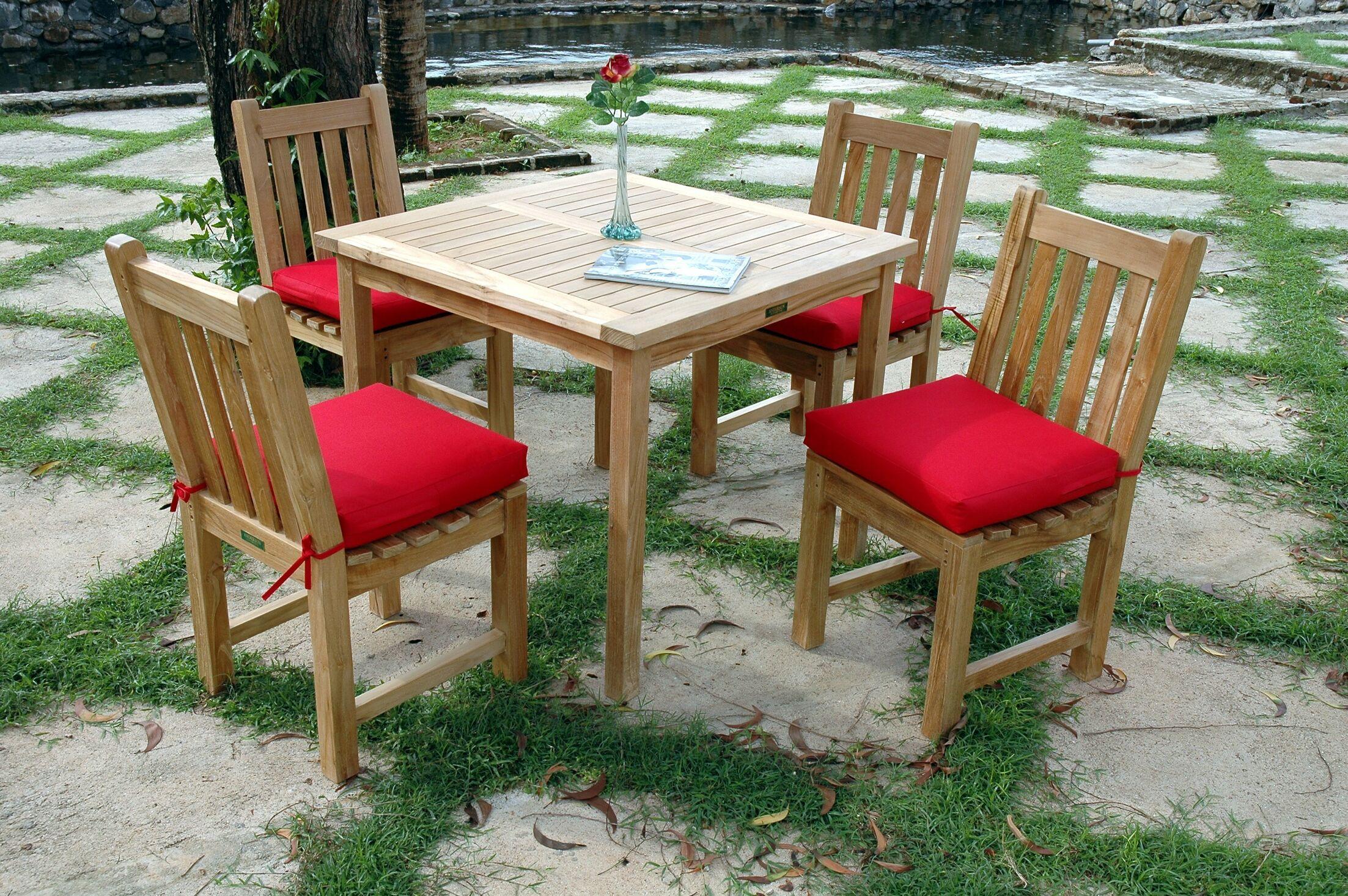 Farnam 5 Piece Teak Dining Set with Cushions
