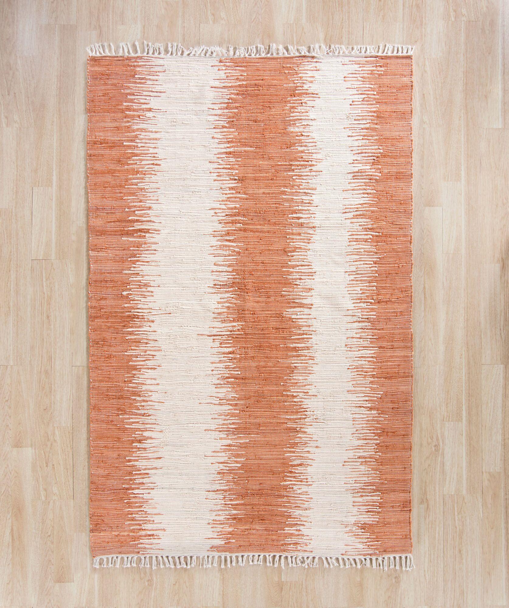 Shenandoah Hand-Woven Cotton Orange/White Area Rug Rug Size: Rectangle 8' x 10'