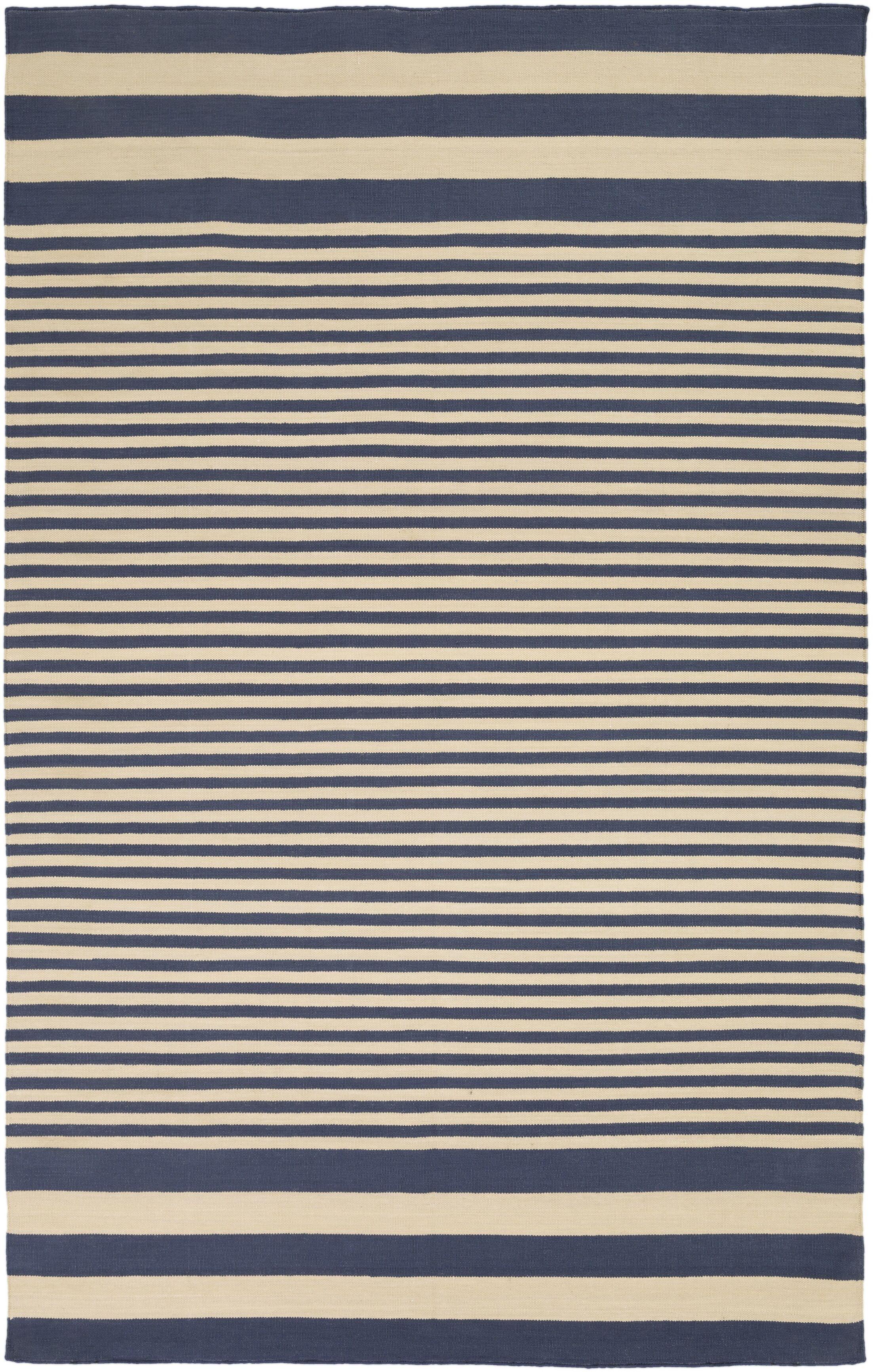 Kinslee Beige/Navy Stripe Area Rug Rug Size: Rectangle 8' x 11'