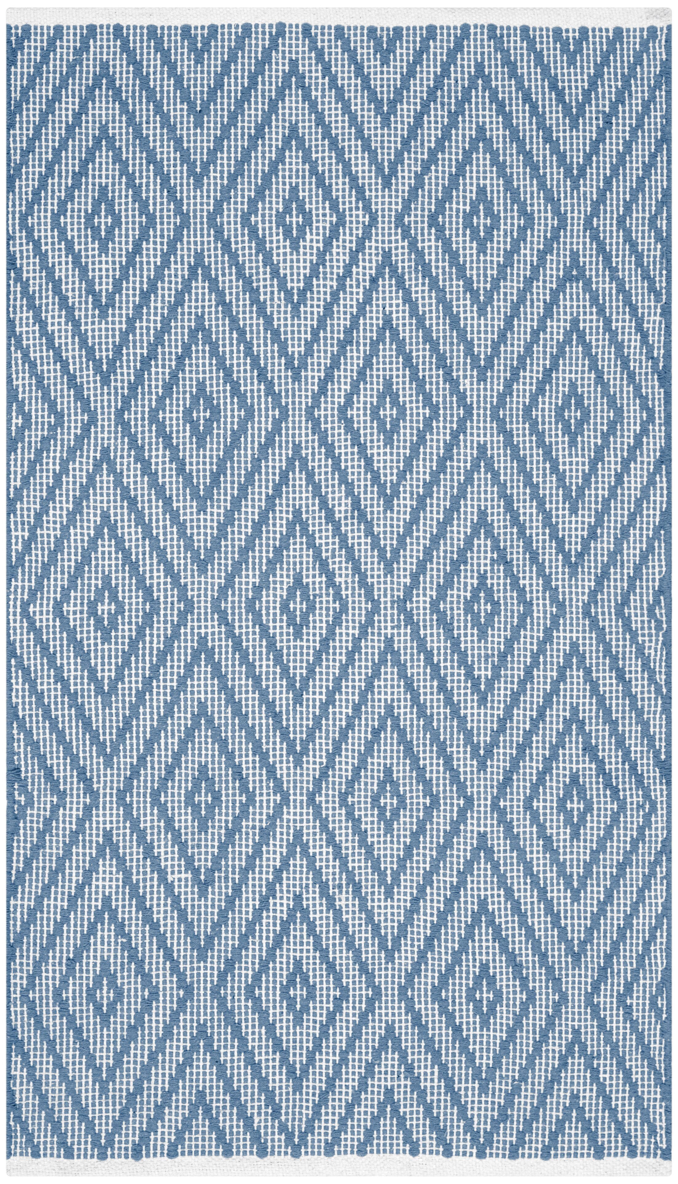 Achilles Hand-Woven Cotton Blue Area Rug Rug Size: Rectangle 3' x 5'