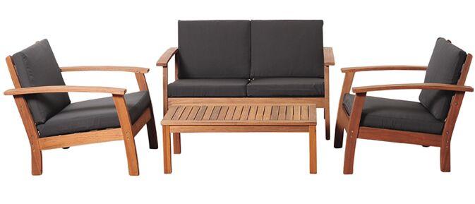Fann 4 Piece Sofa Set with Cushions Fabric: Black