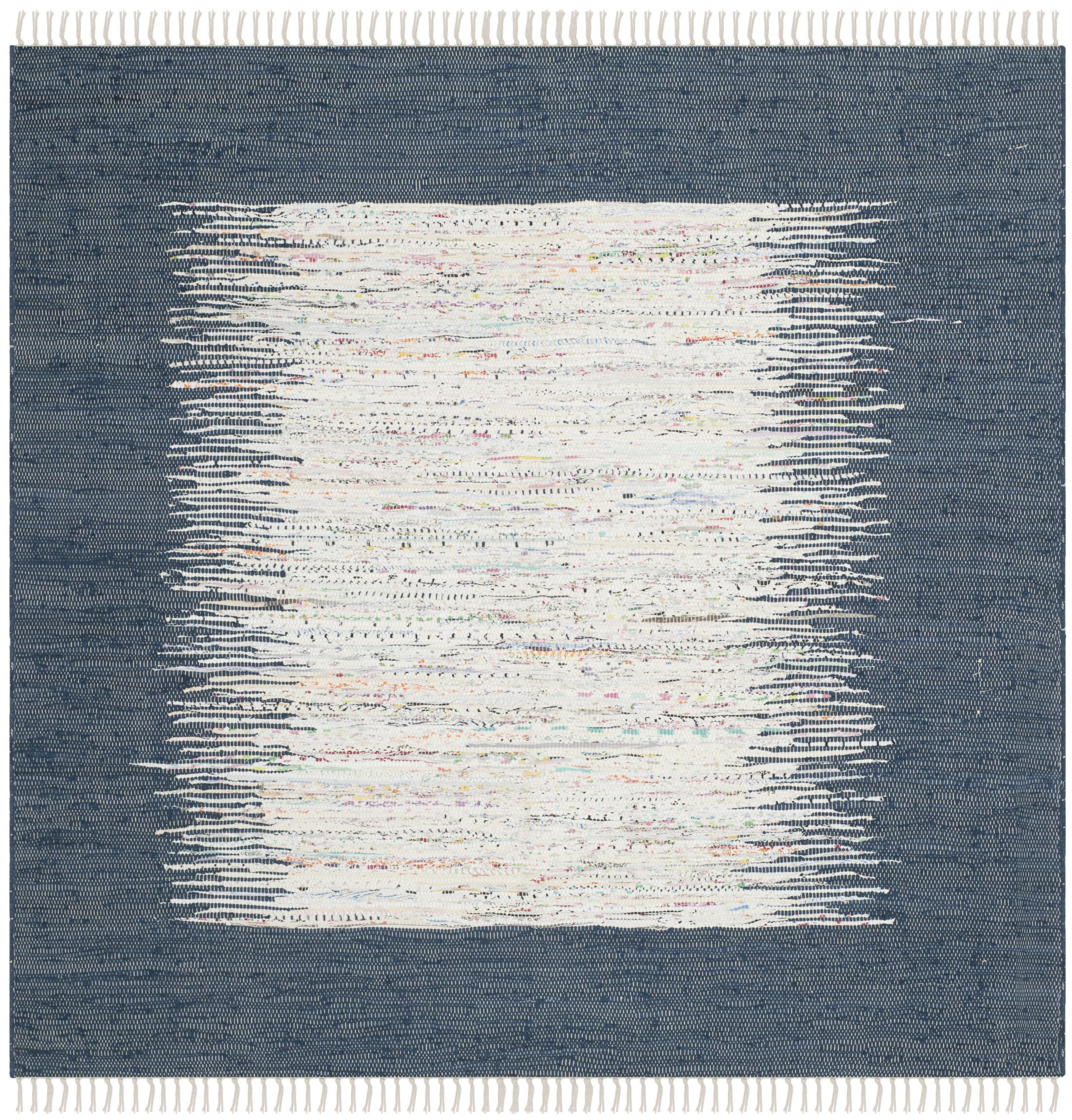 Evie Hand-Woven Cotton White/Navy Area Rug Rug Size: Square 6'