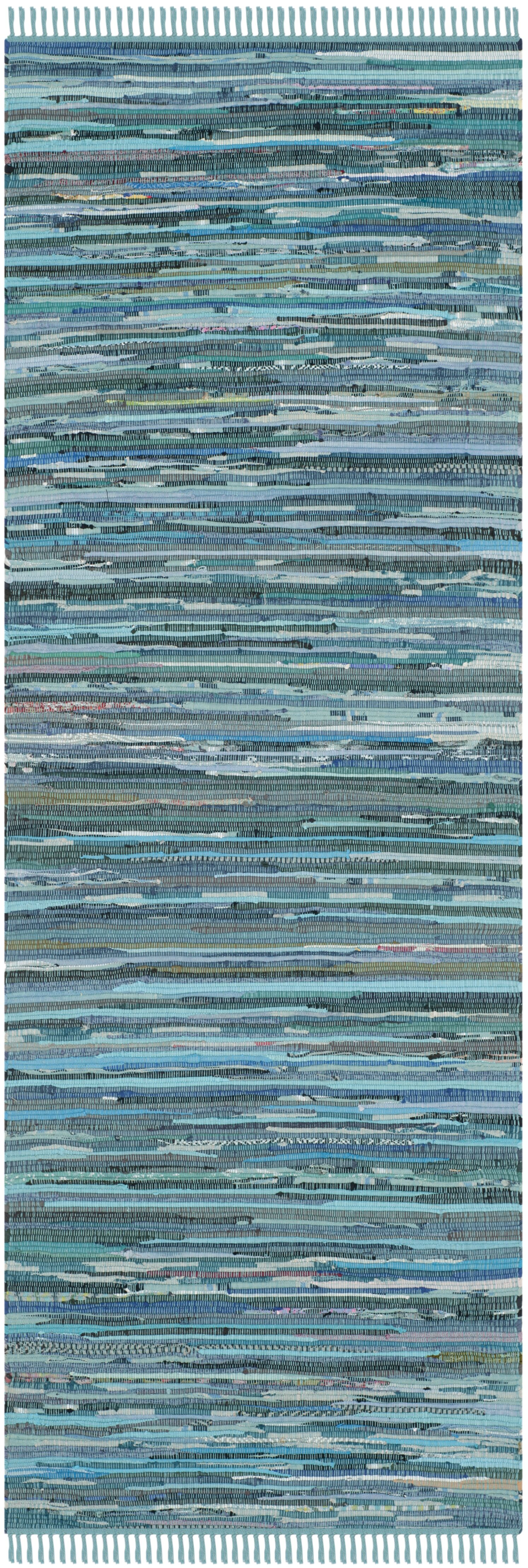 Inkom Hand-Woven Cotton Blue Area Rug Rug Size: Runner 2'3