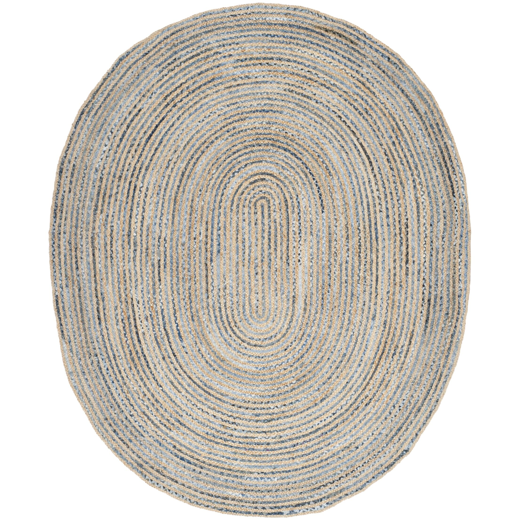 Brynne Hand-Woven Natural/Blue Area Rug Rug Size: Oval 9' x 12'