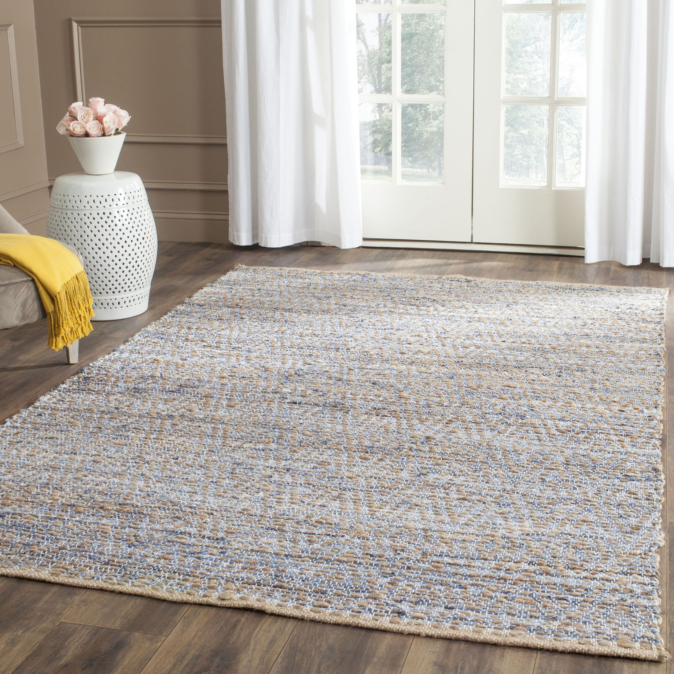Arria Hand-Woven Natural/Blue Jute Area Rug Rug Size: Rectangle 9' x 12'