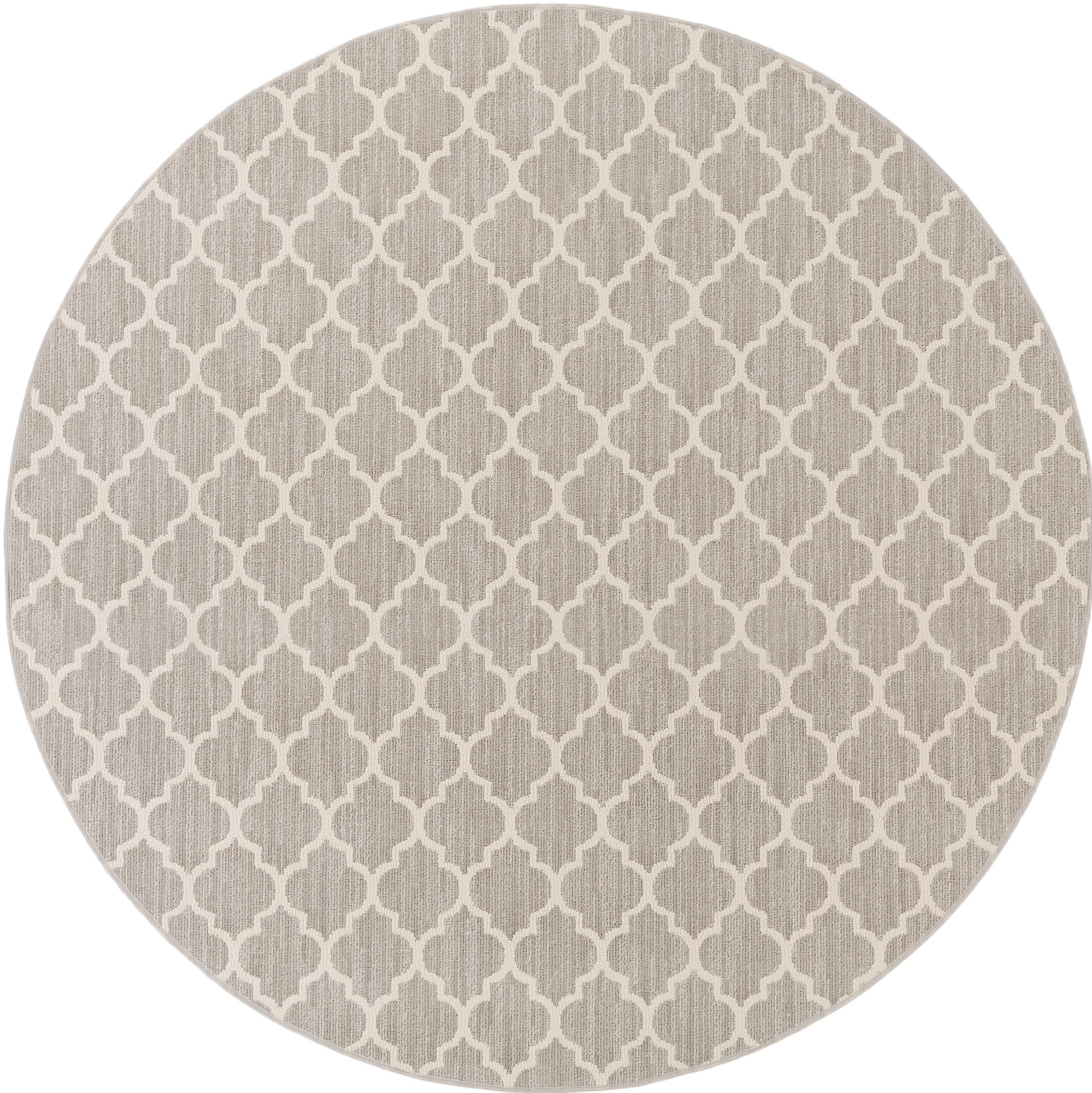 Central Volusia Gray Area Rug Rug Size: Round 6'
