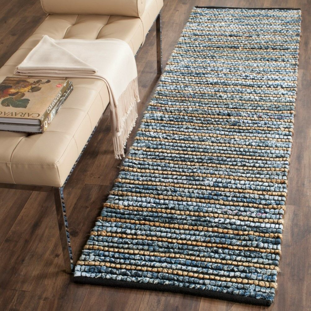 Cypress Quarters Hand-woven Blue/Natural Area Rug Size: Runner 2'6