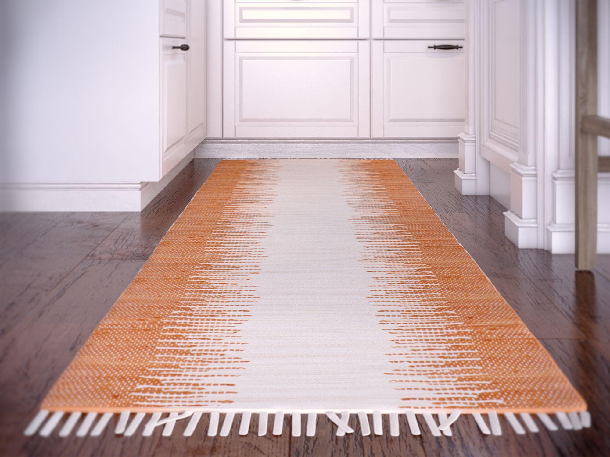 Shenandoah Hand-Woven Cotton Orange/White Area Rug Rug Size: Rectangle 2'6