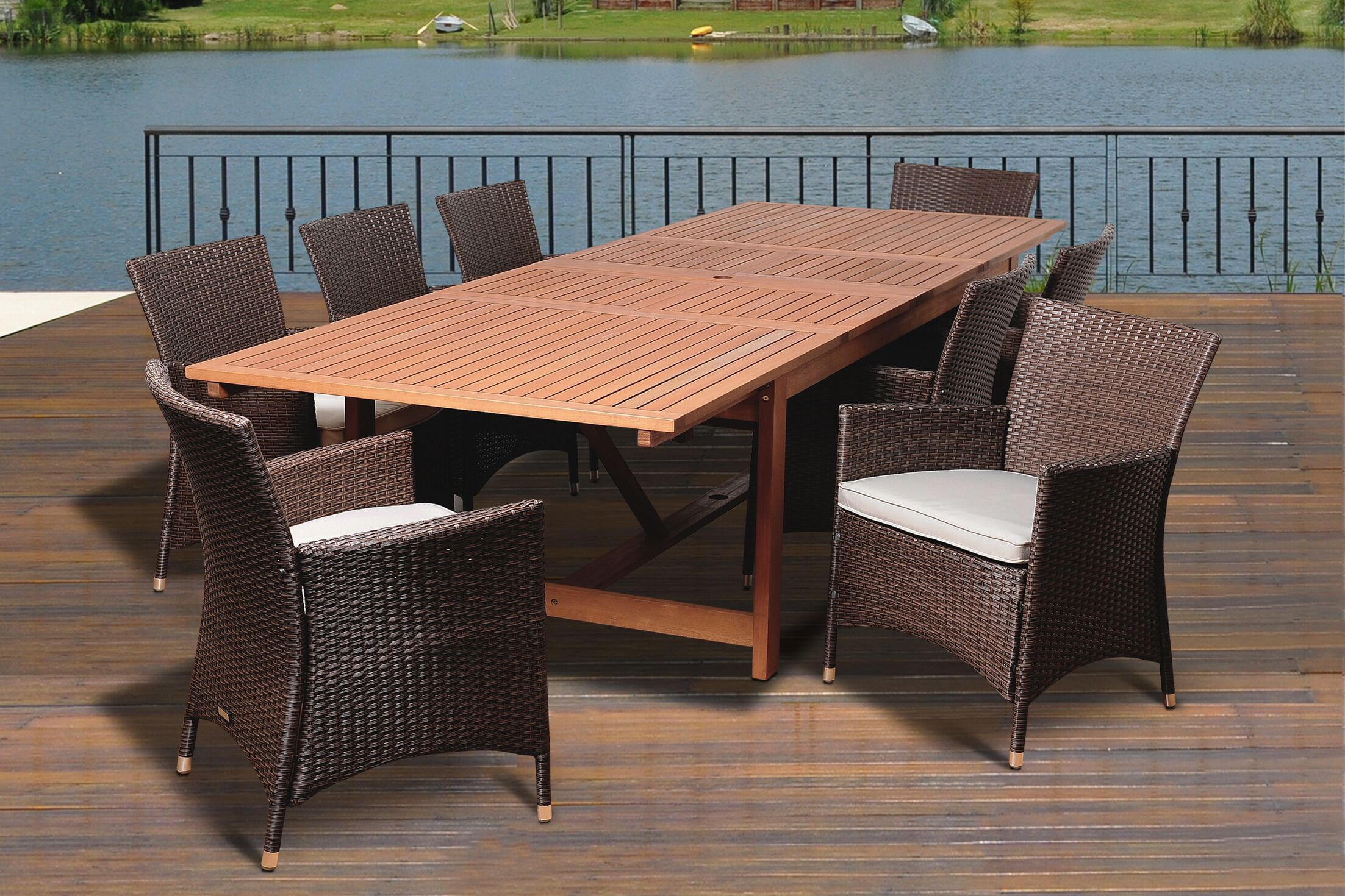 Bridgepointe Coastal Eucalyptus 9 Piece Dining Set